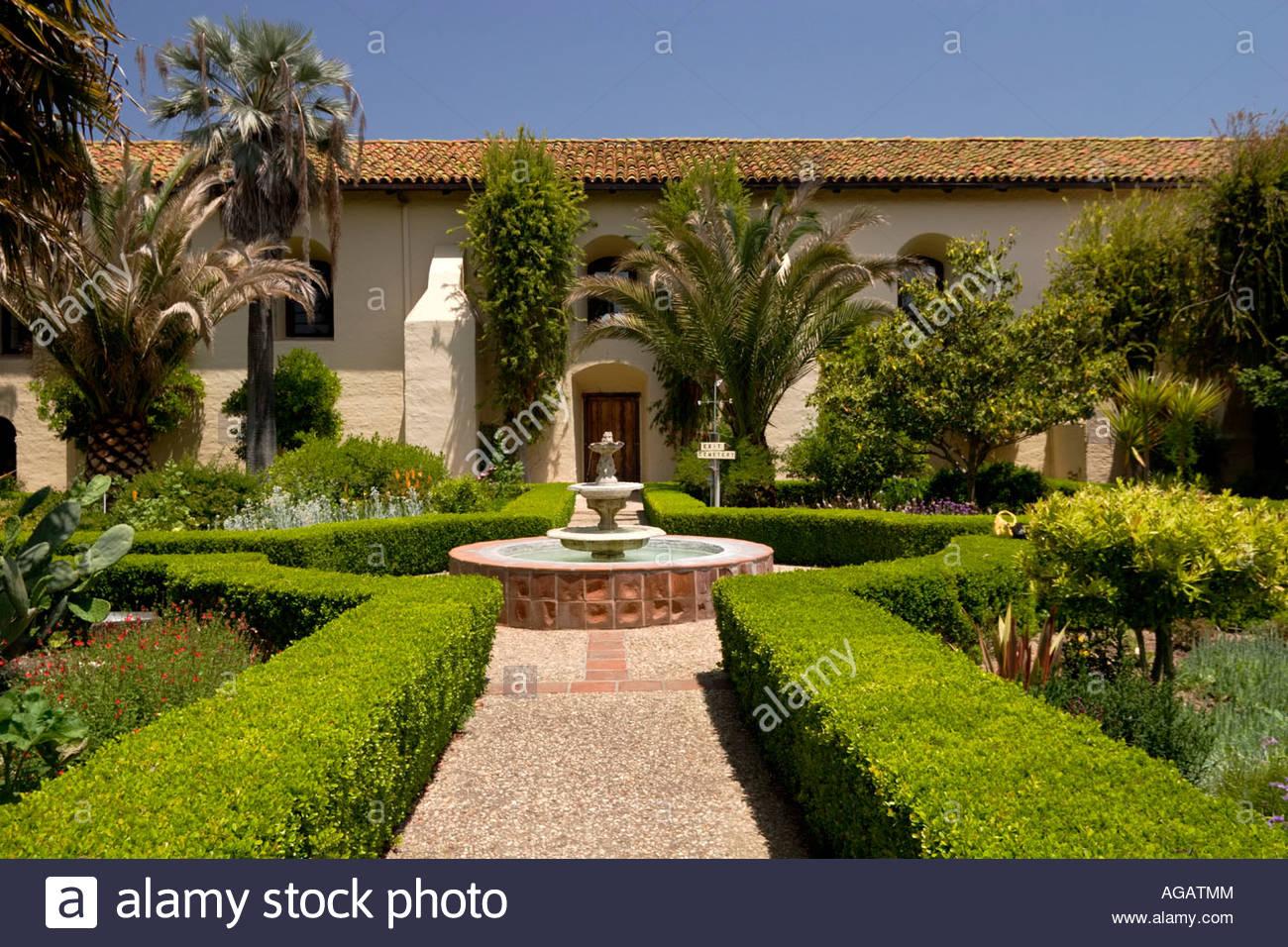 Mission Santa Ines Courtyard Garden Solvang California Stock Photo ...