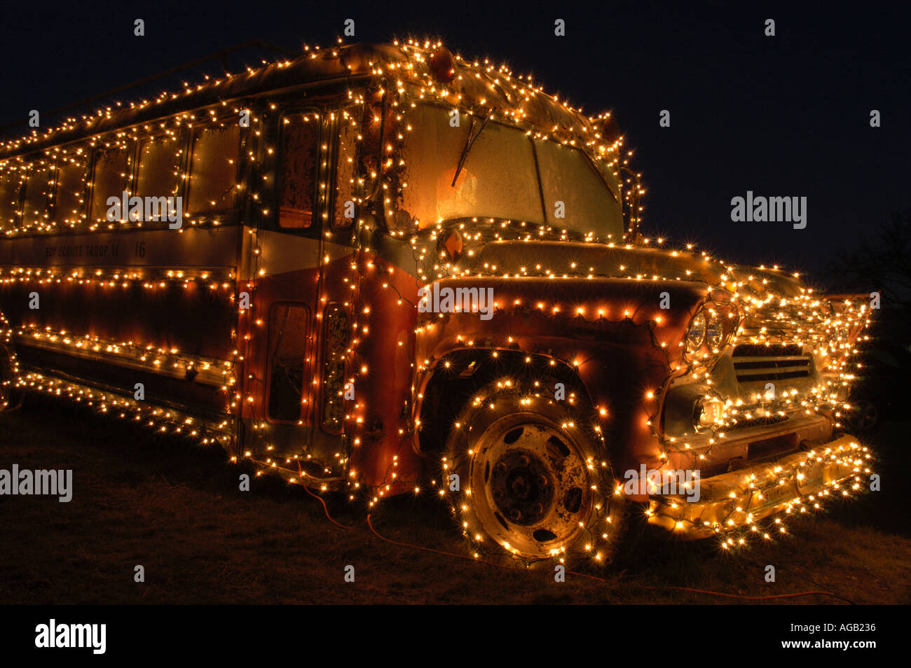 Old chevrolet school bus decorated for christmas stock