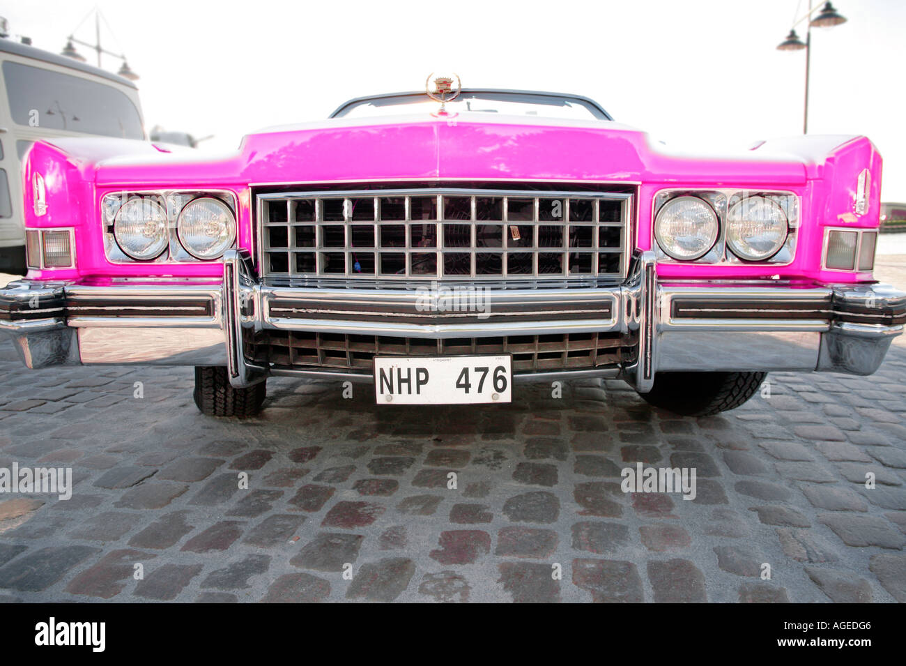 Pink Cadillac Front View With Swedish License Plate Stock