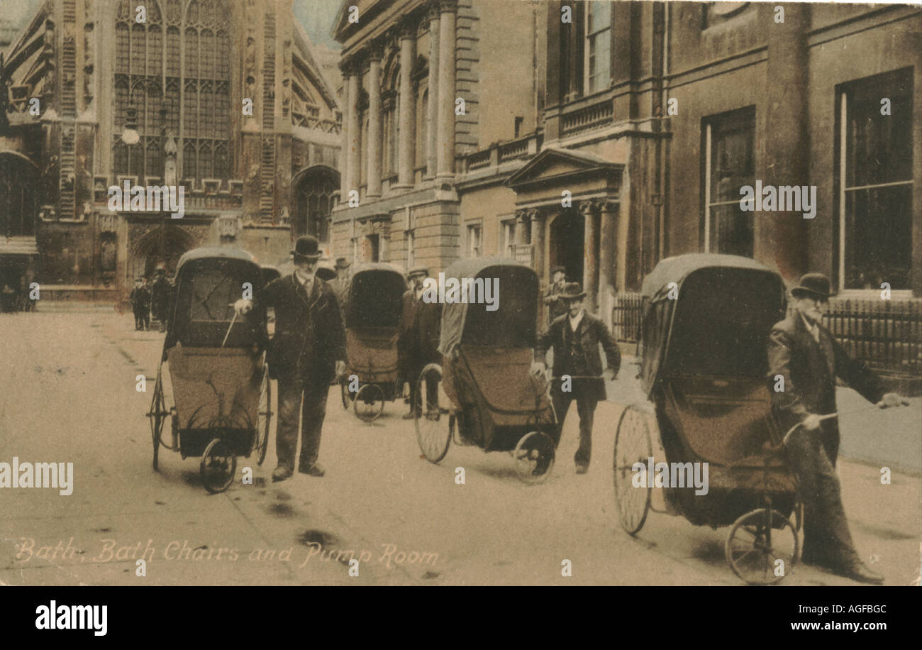 Greeting postcard of bath chairs for hire circa 1910 Stock Photo ...