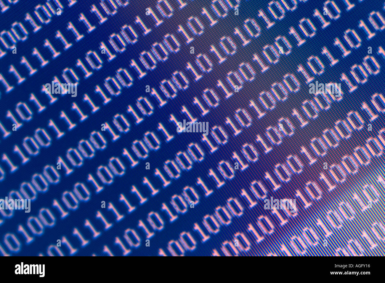 Closeup of binary code in green digits on a computer screen Stock ...