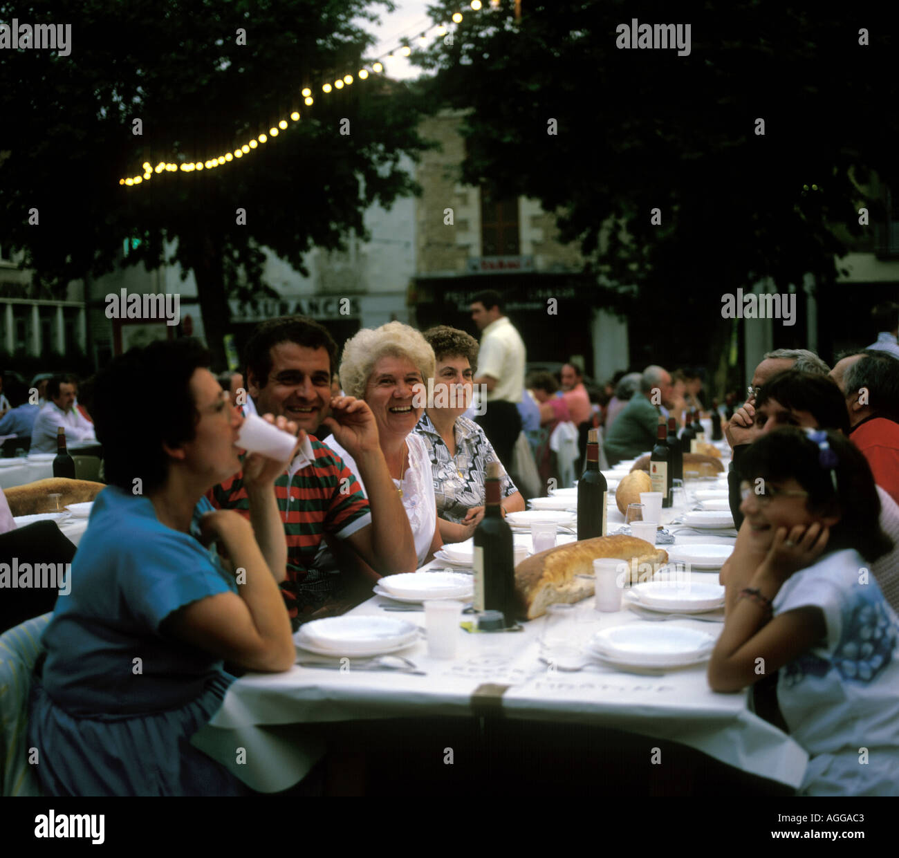 French People Anticipate An Evening Meal In Lalinde Dordogne France