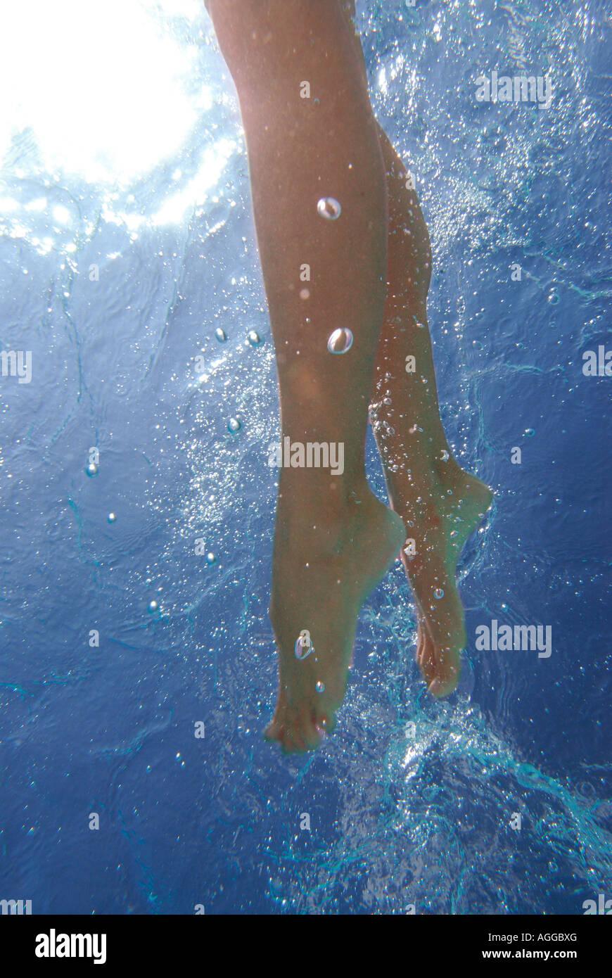 Legs are seen kicking as a women swimmer seen from ...