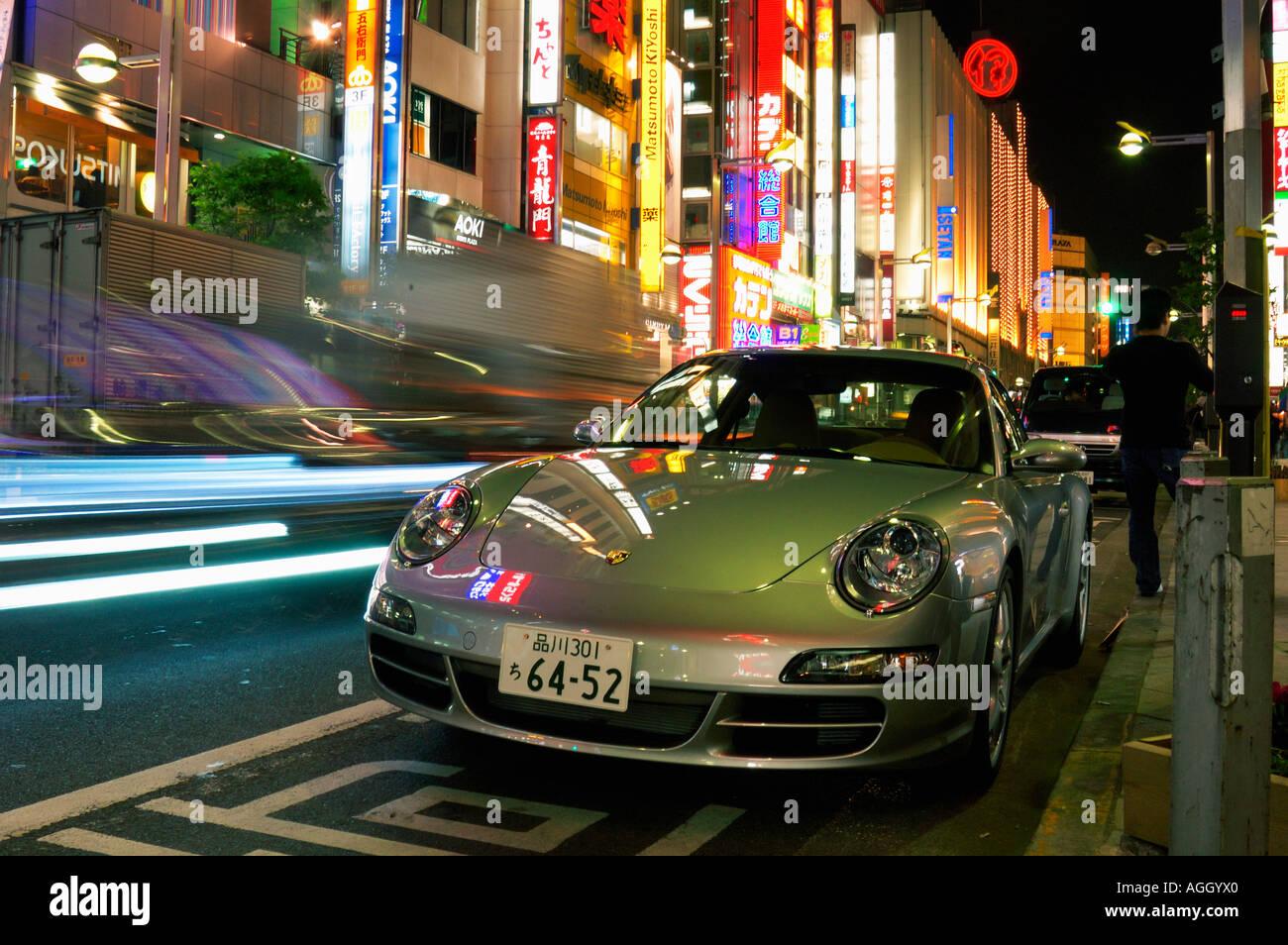 Awesome Cool Sports Car Parked Near Sidewalk, Shinjuku, Tokyo, Japan