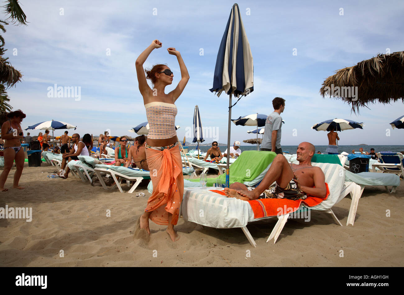 Young People Relaxing At The Bora Disco Beach Ibiza Spain