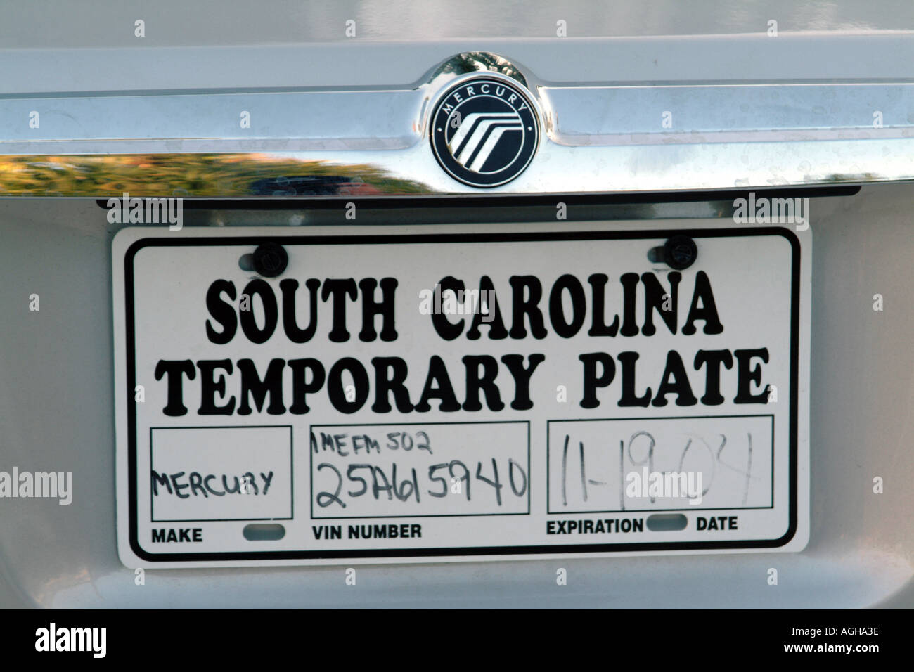 license plate usa temporary number plate on ford mercury car south stock photo royalty free. Black Bedroom Furniture Sets. Home Design Ideas