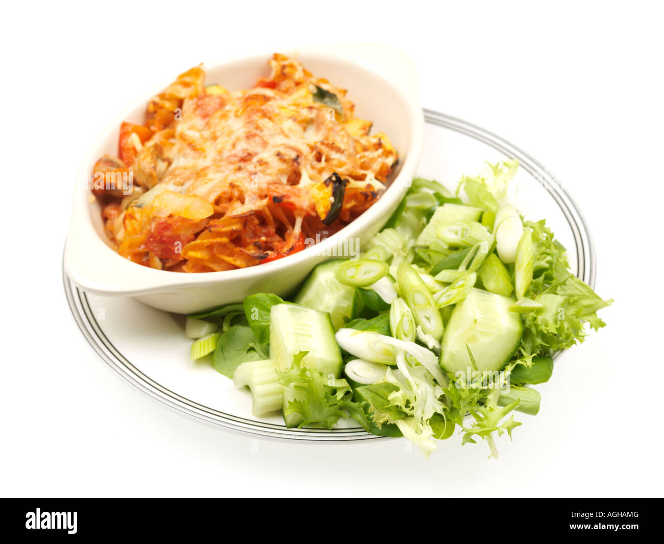 Tuna pasta bake with green salad stock photo royalty free for Tuna fish pasta salad