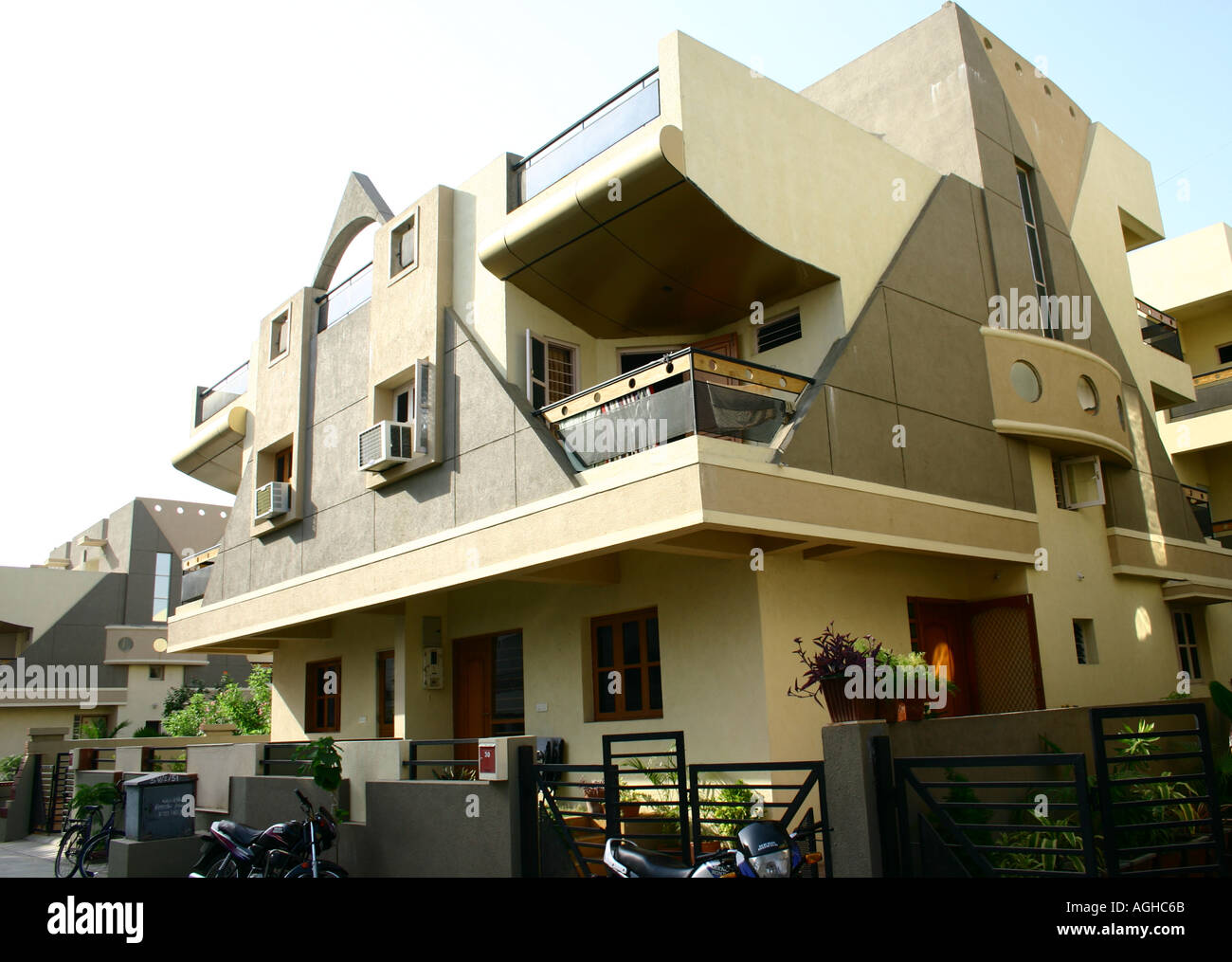 Modern Urban Indian living Bungalow balcony installed airconditioners  Amdavad Gujarat India