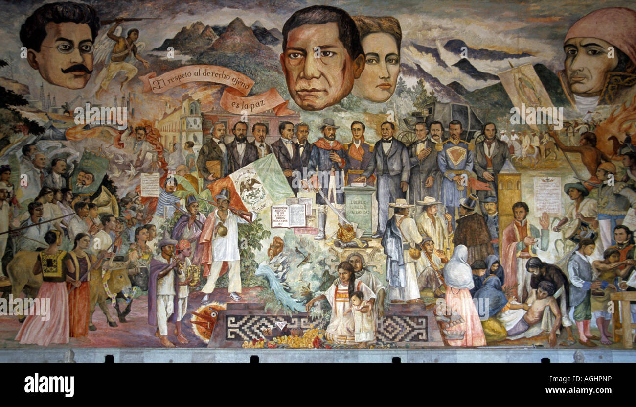 Mural with benito juarez in center by arturo garcia bustos for Benito juarez mural