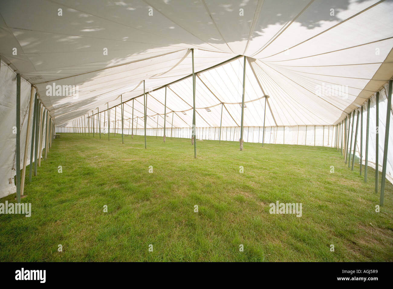 interior of empty huge tent marquee at New Forest Show before opening & interior of empty huge tent marquee at New Forest Show before ...