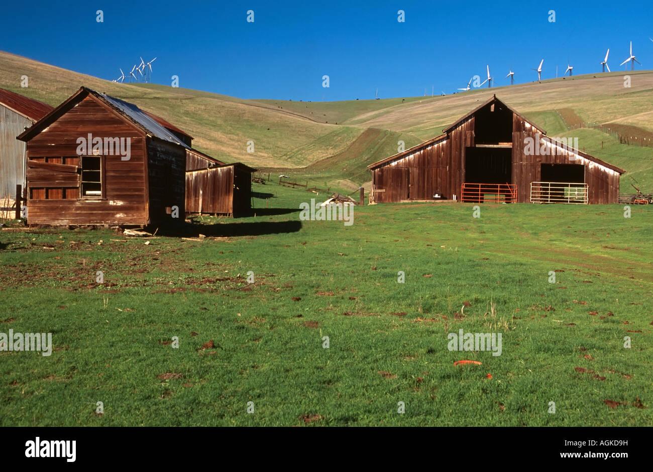 Painet Jm7760 Altamont Pass California Windmill Farm Barn Modern Alternate Renewable Energy Old New Landscape Grass Blue Sky