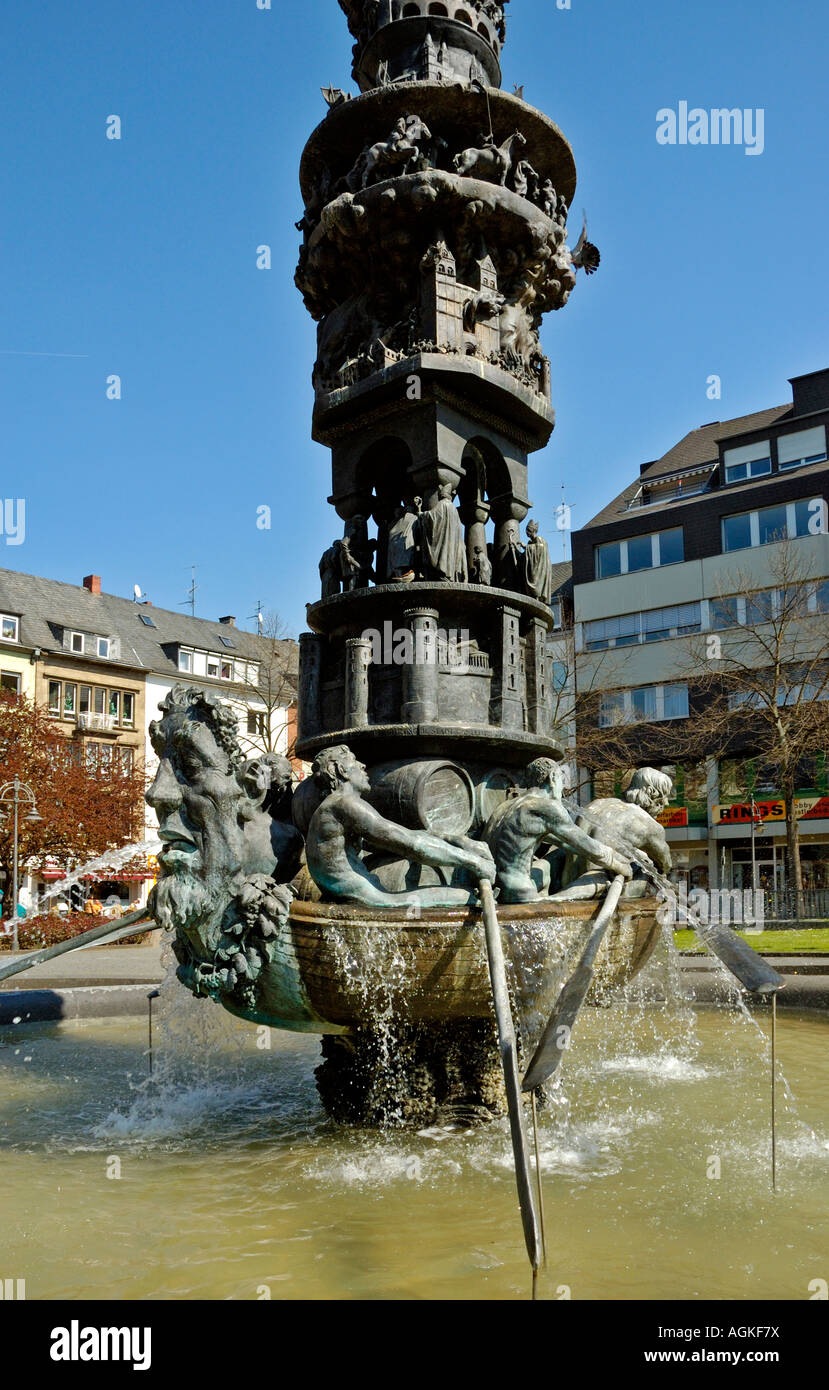 the koblenz history column fountain germany the wine ship at the stock photo royalty free. Black Bedroom Furniture Sets. Home Design Ideas