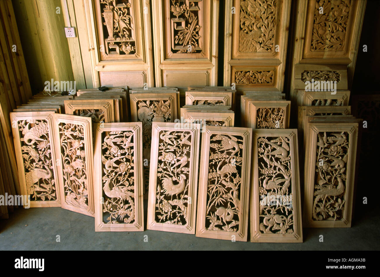 China yunnan lijiang old town carved wooden door panels
