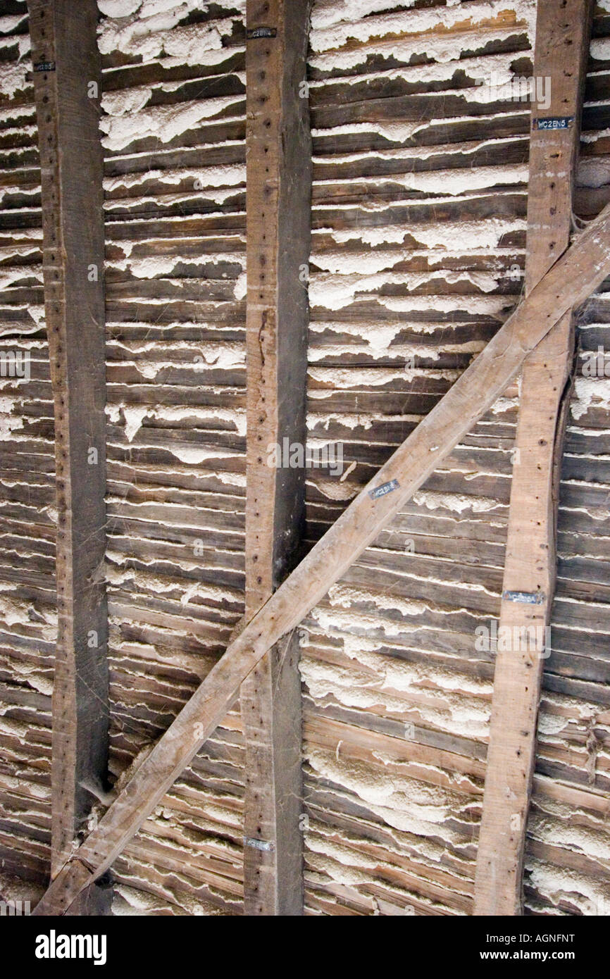 Lath And Plaster : Traditional lath and plaster wall with laths exposed stock