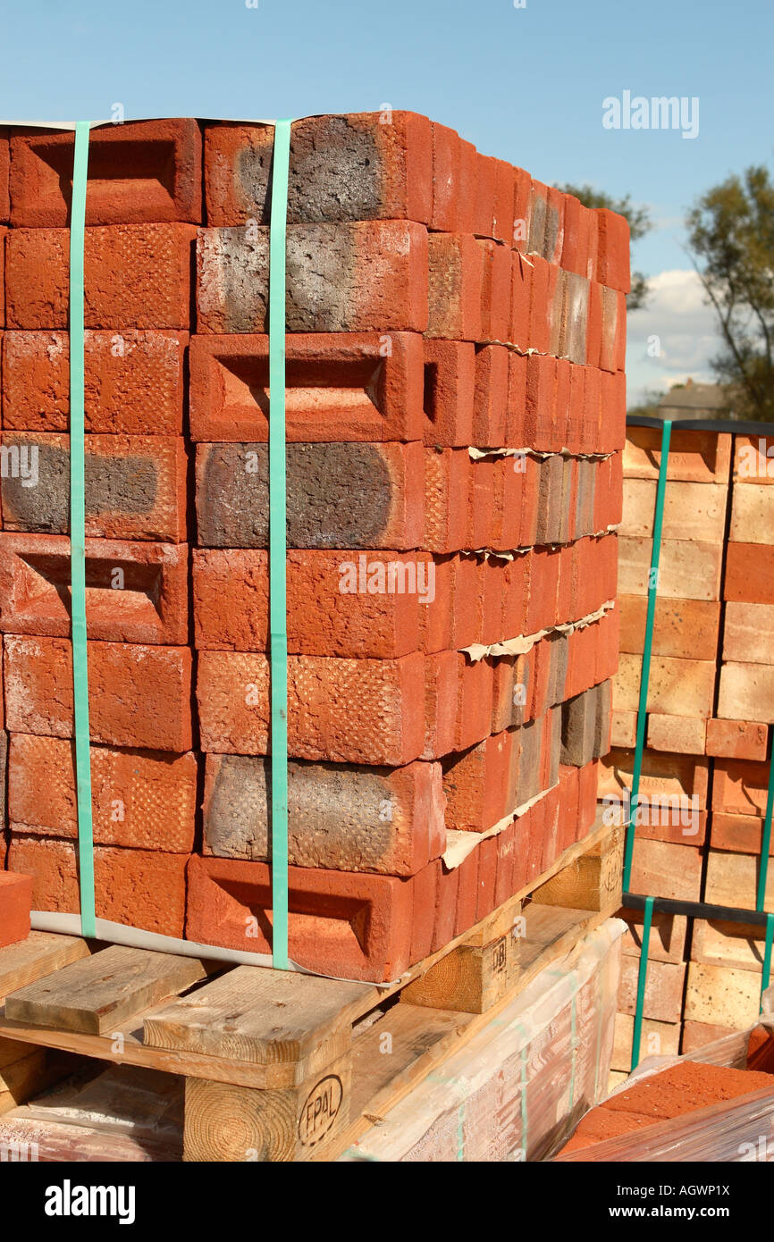 Brick stack of new red bricks on pallet in builder for Pallet leroy merlin