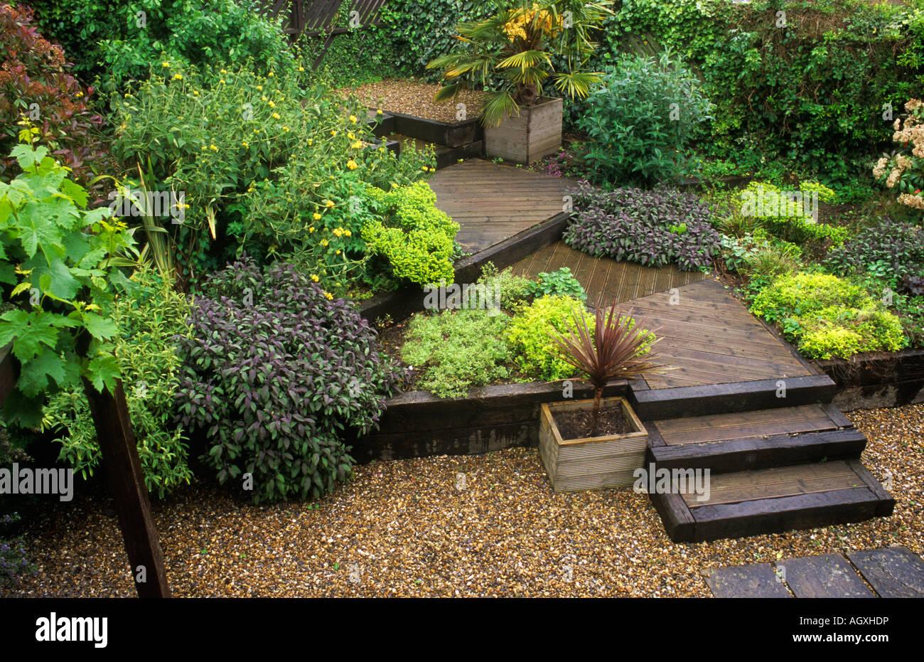 Terraced garden decking steps levels gravel design for Terrace garden plants
