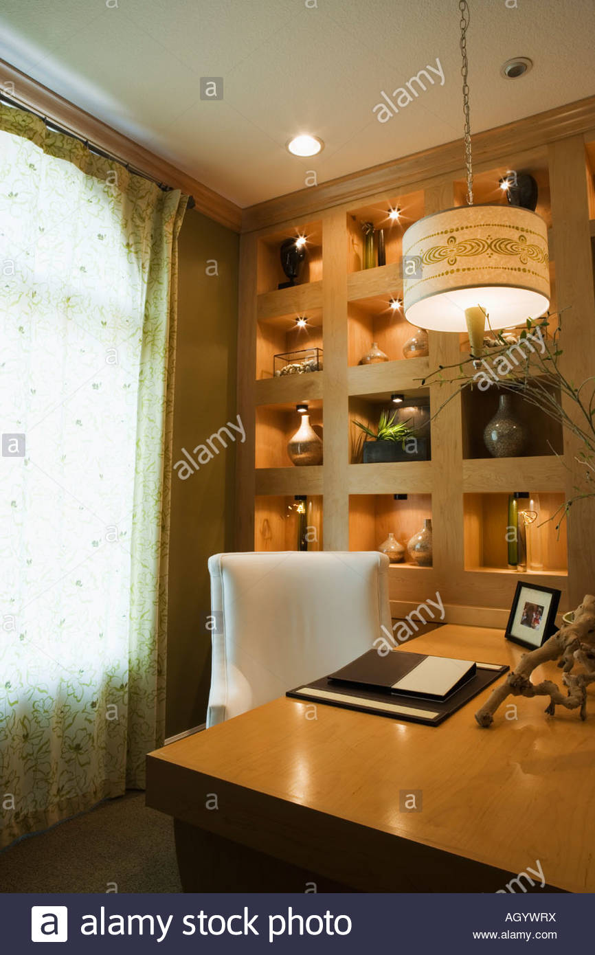 Cozy Home Office with Large Wood Desk Stock Photo 14311981 Alamy