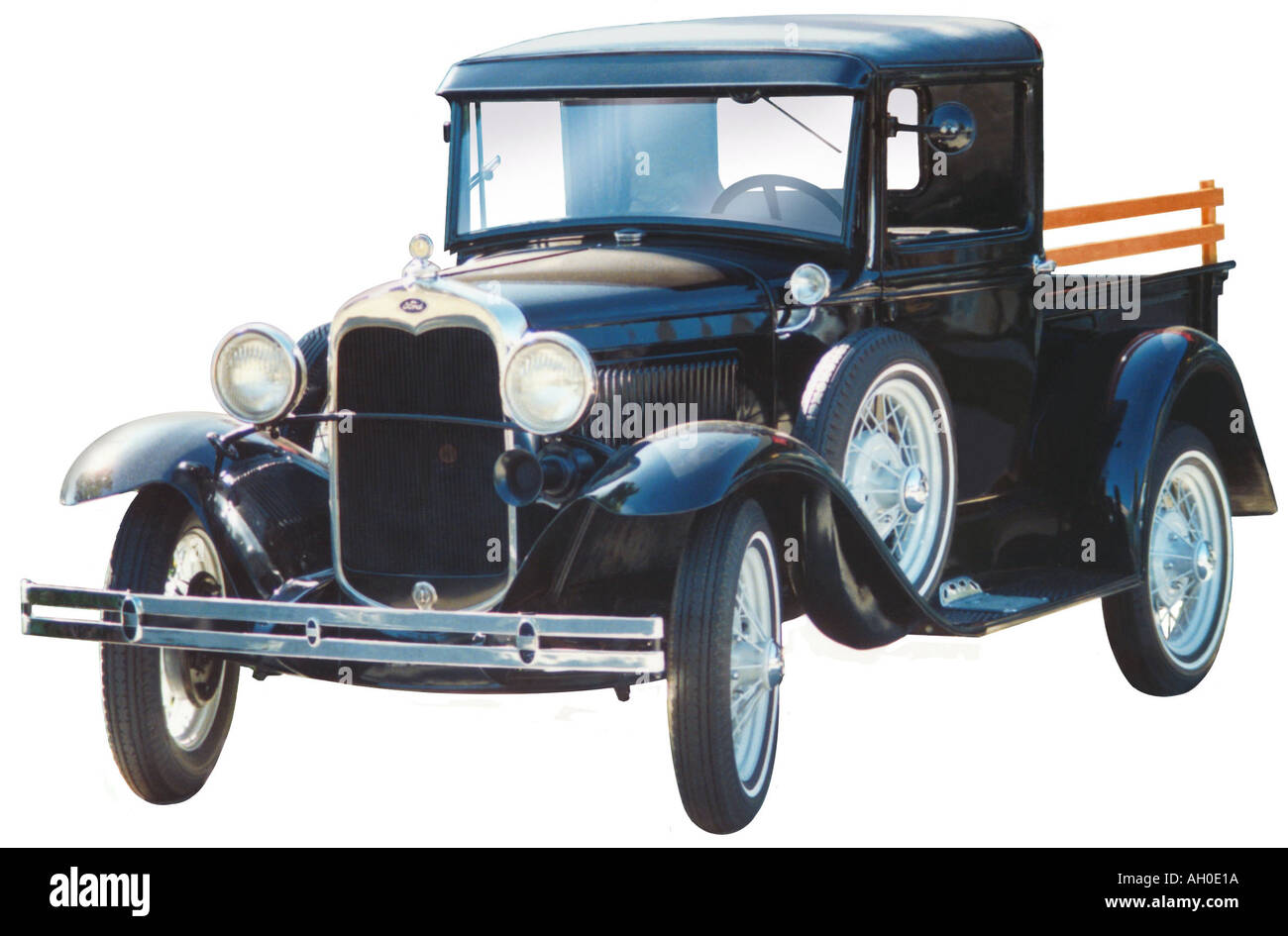 Cutout image of a black 1929 ford model a roadster pickup truck stock image