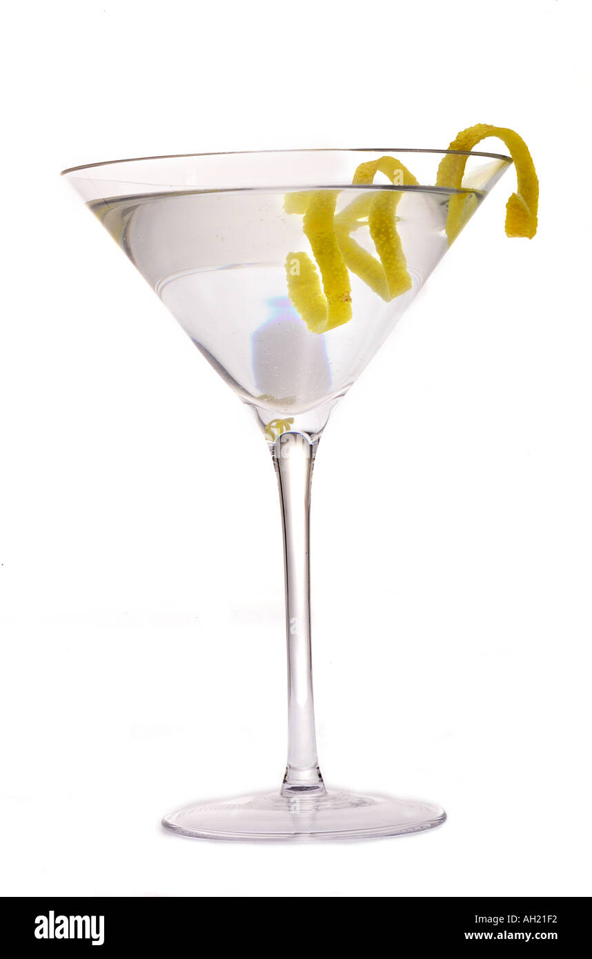 A vodka or gin martini cocktail with lemon twist for How to make martini cocktail