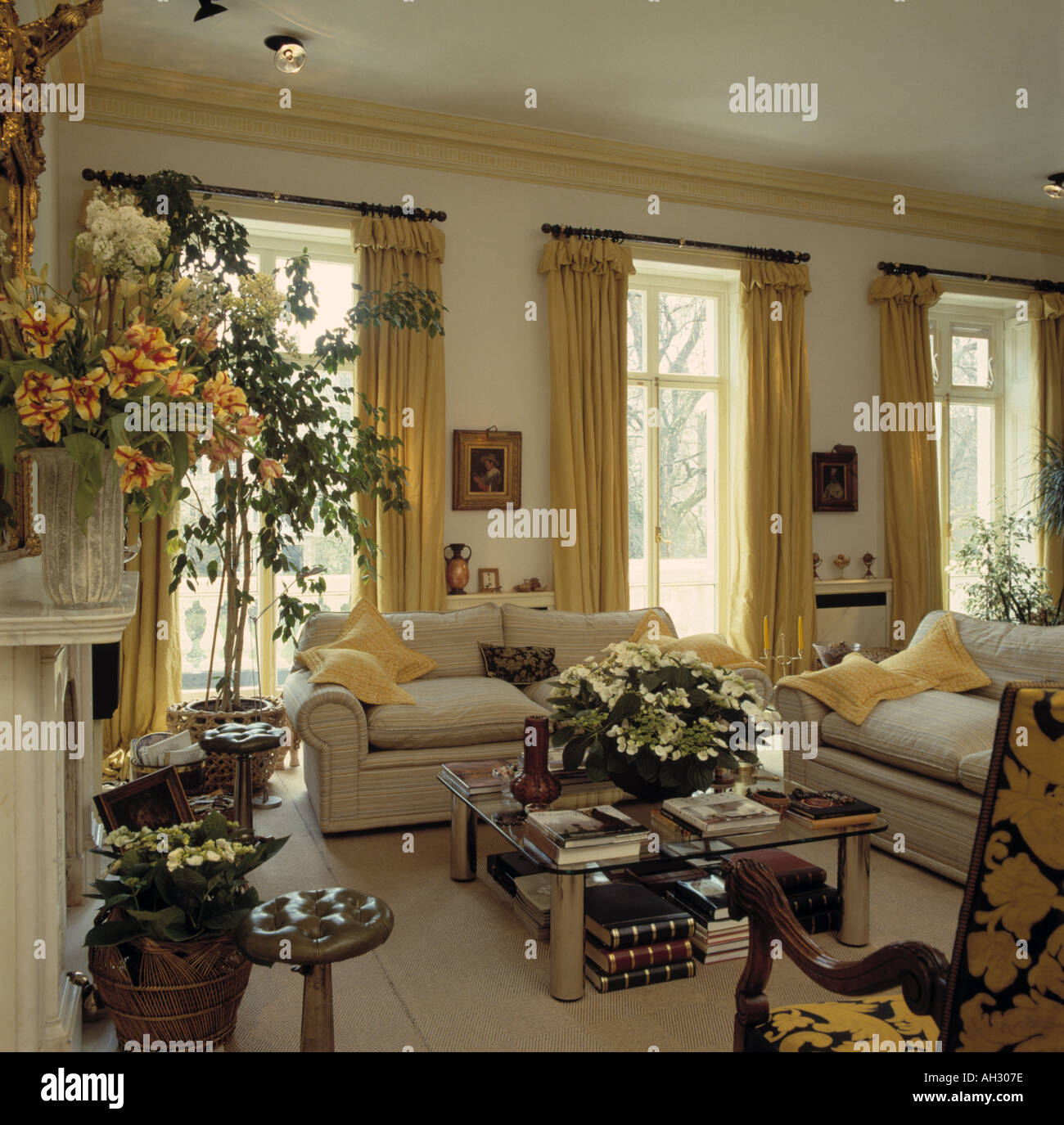 Stock Photo   Yellow Curtains French Windows In Traditional Living Room  With Cream Sofas And Floral Arrangements Part 78