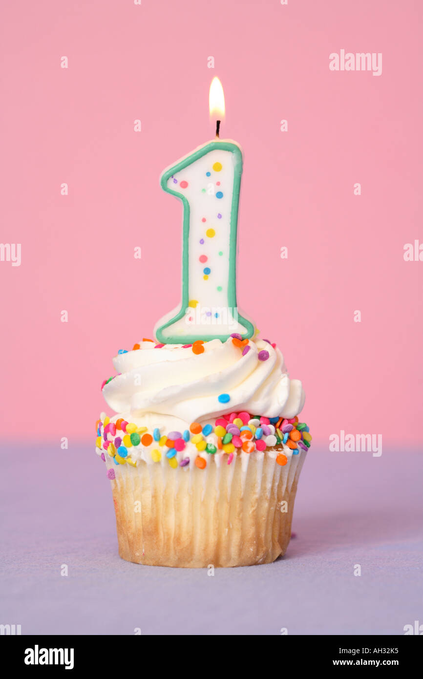 Cupcake With Number One Candle Stock Photo Royalty Free