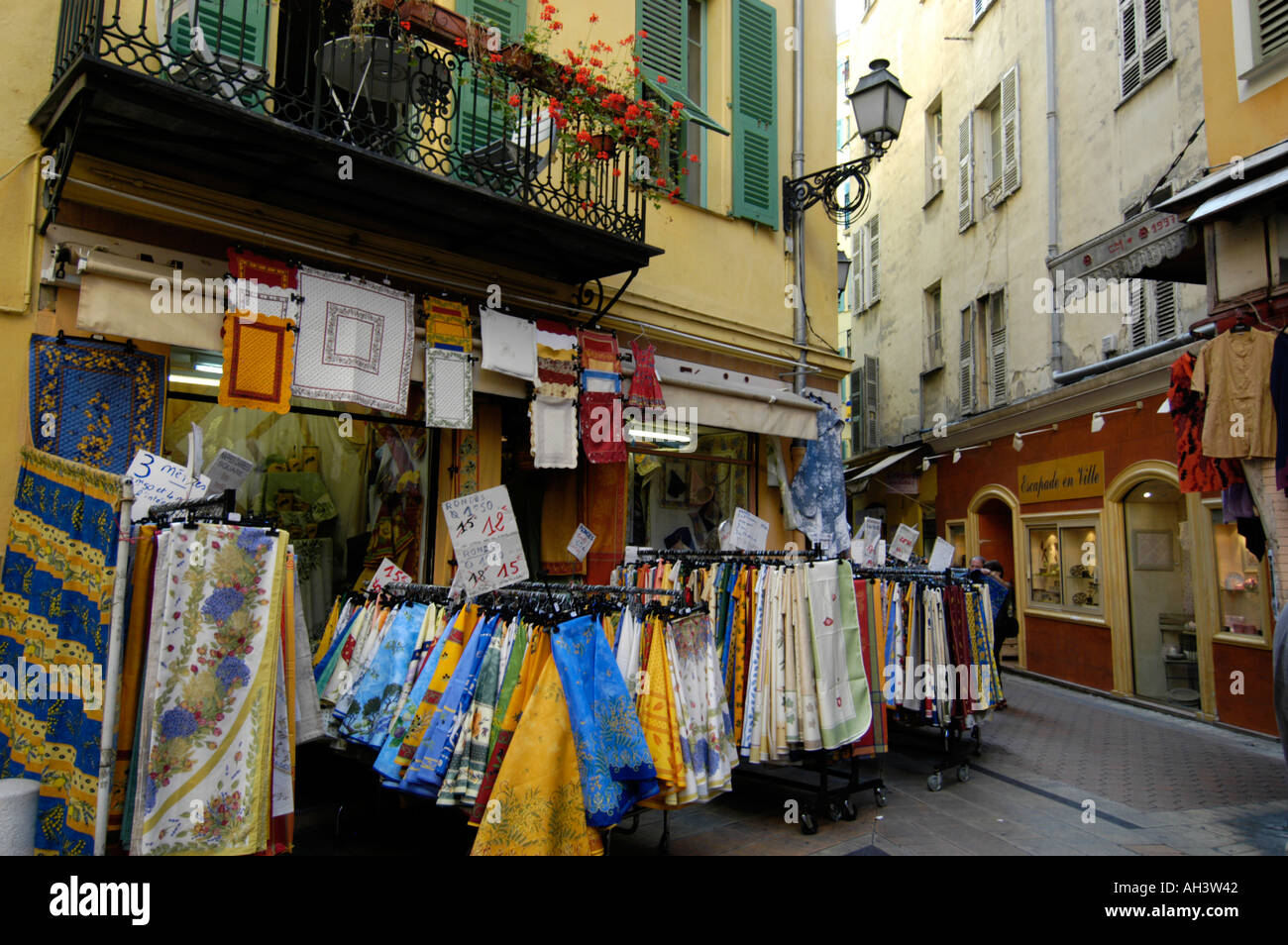 Stock Photo   Vieille Ville Shop Selling Tablecloths Nice France