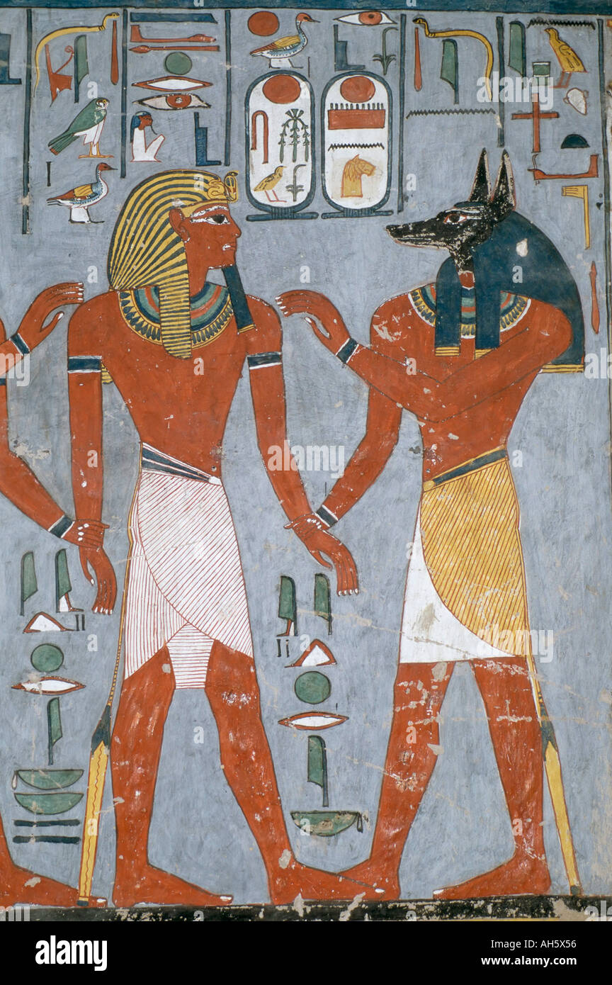 Tomb painting of the pharaoh ramses i with the god anubis for Ancient egyptian mural paintings
