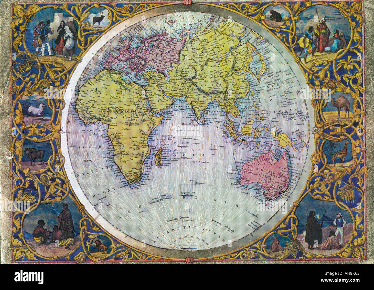 Old World Map Showing Asia Africa Australia Indian Ocean India - World map asia