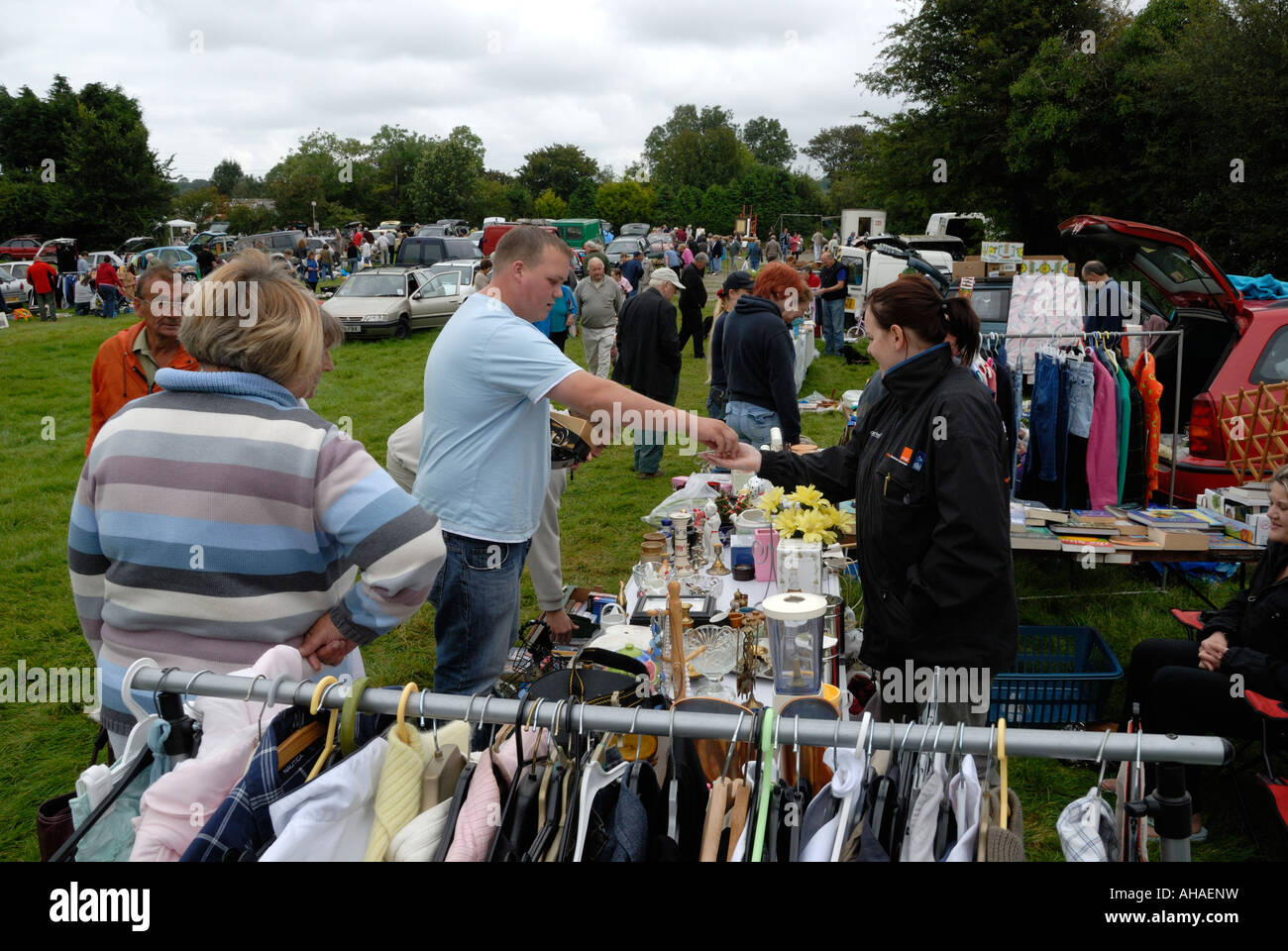 Car boot sale at pennant ceredigion wales stock image