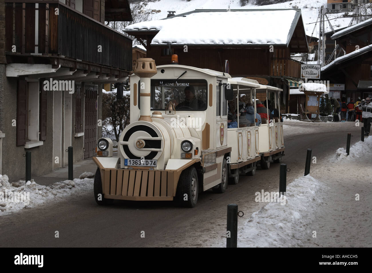 Winter Snowy Scene With Train Bus In Snow Ski Resort Town Of