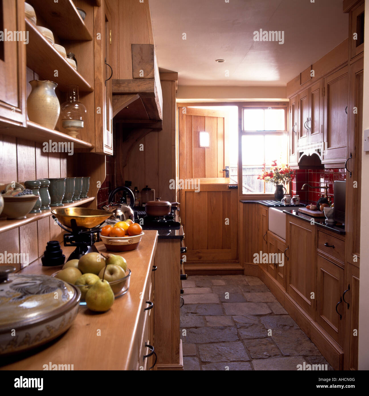 Kitchen Stone Floor Stone Floor Tiles In Narrow Country Kitchen With Fitted Wooden