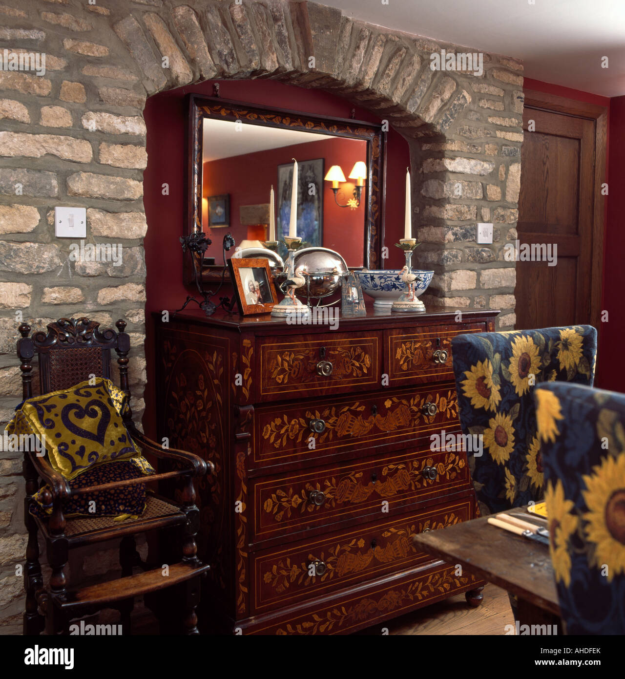 Dining Room Chest Of Drawers: Antique Inlaid Chest Of Drawers In Alcove Of Exposed Stone