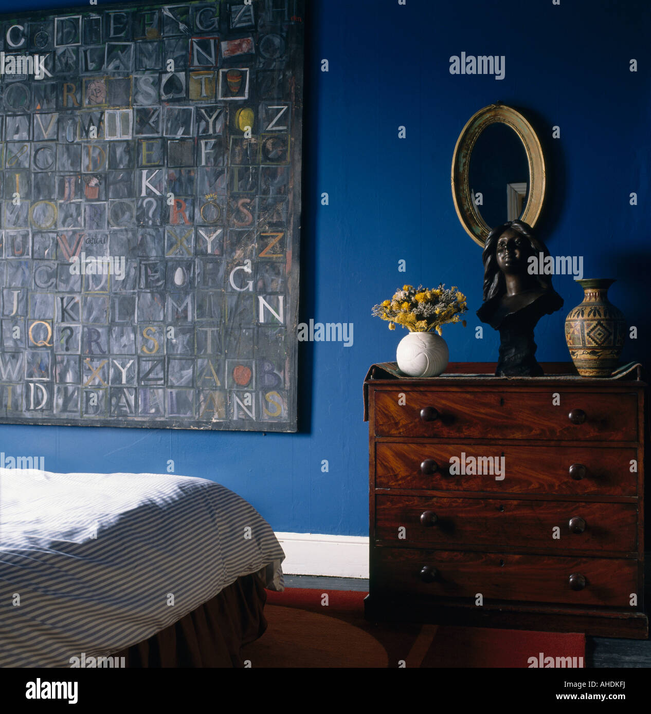 Large Bedroom Chest Of Drawers Antique Mahogany Chest Of Drawers And Large Abstract Painting In