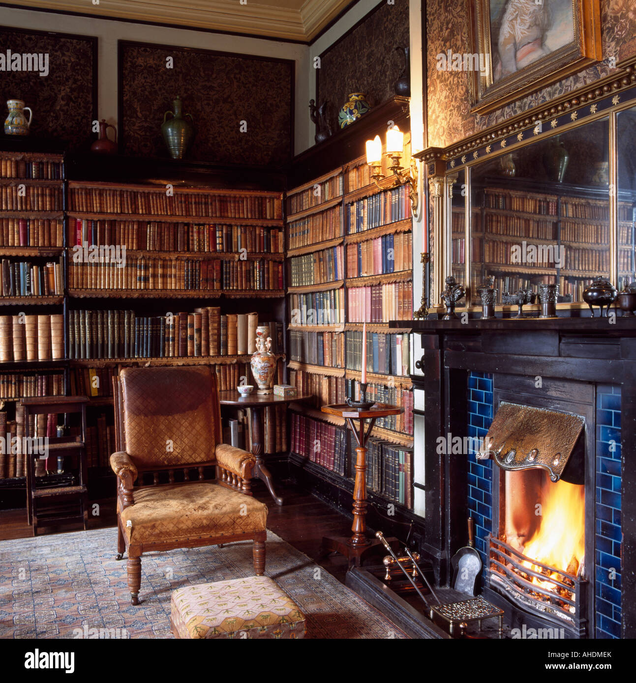 Edwardian Leather Armchair Beside Fireplace In Study With