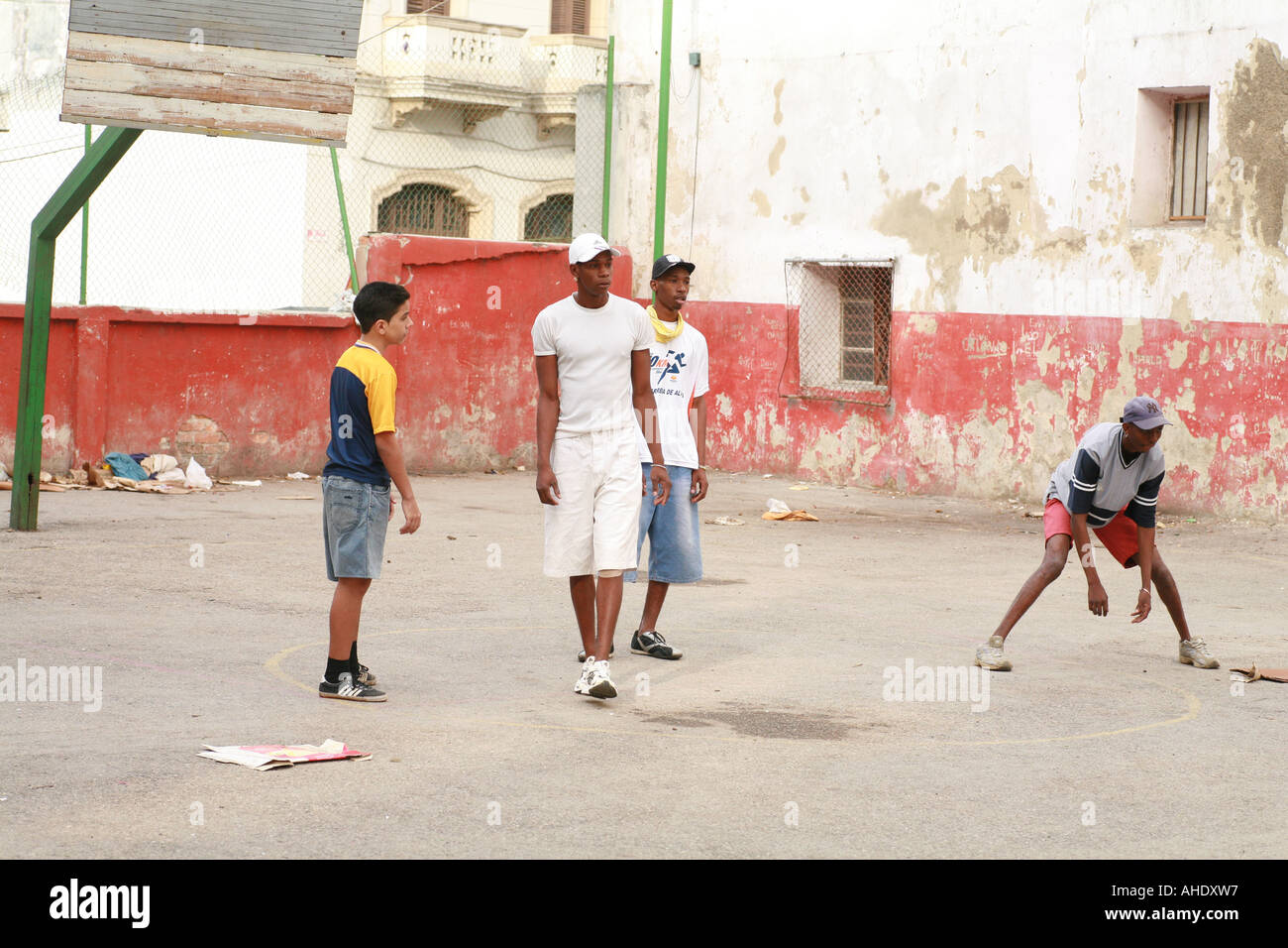la habana cuba boys playing soccer in a backyard stock photo