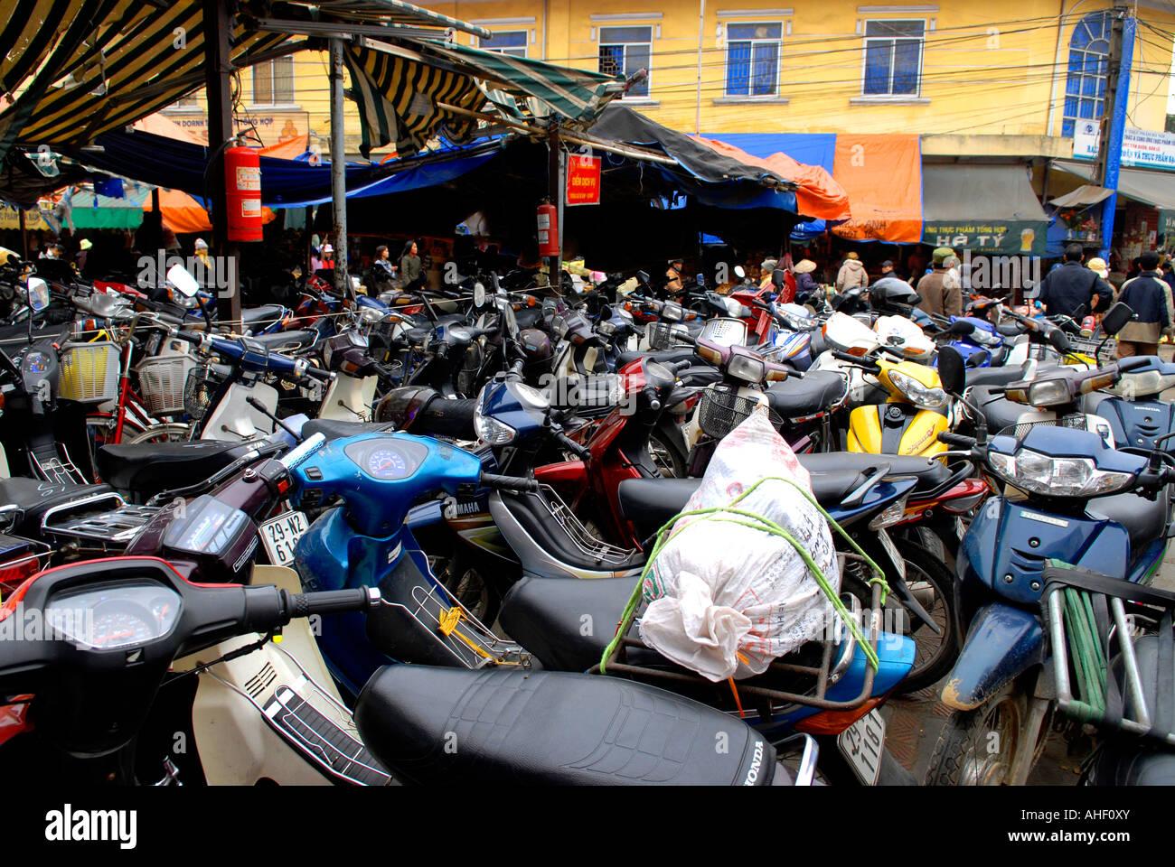 Vietnam Hanoi Hang Be Market Typical Motor Bike Park Full Of