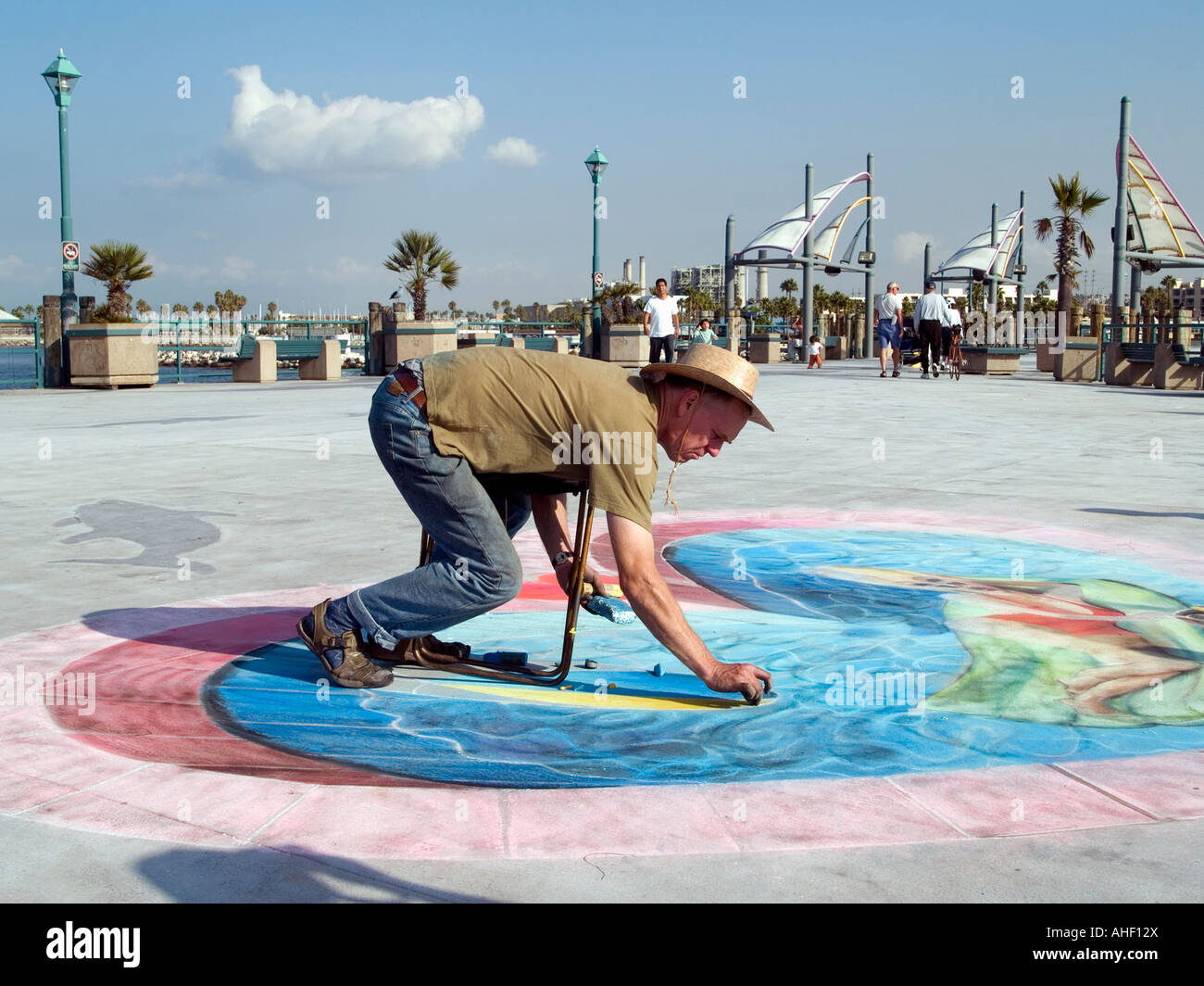 Beach Pier Drawing on Redondo Beach Pier ca