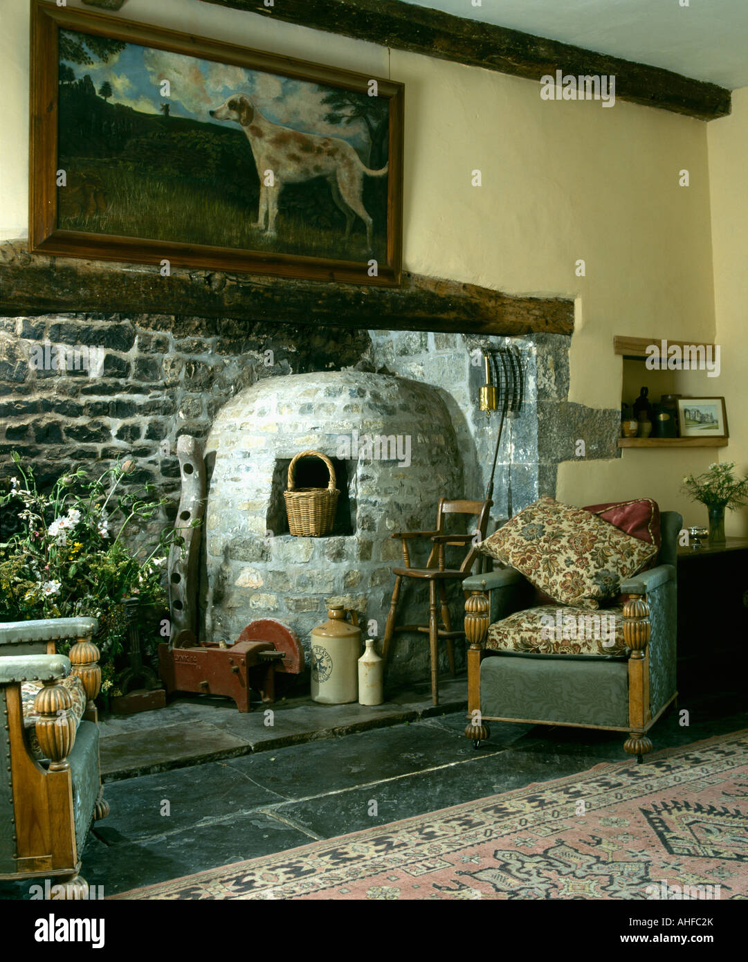 picture above inglenook fireplace with stone bread oven stock