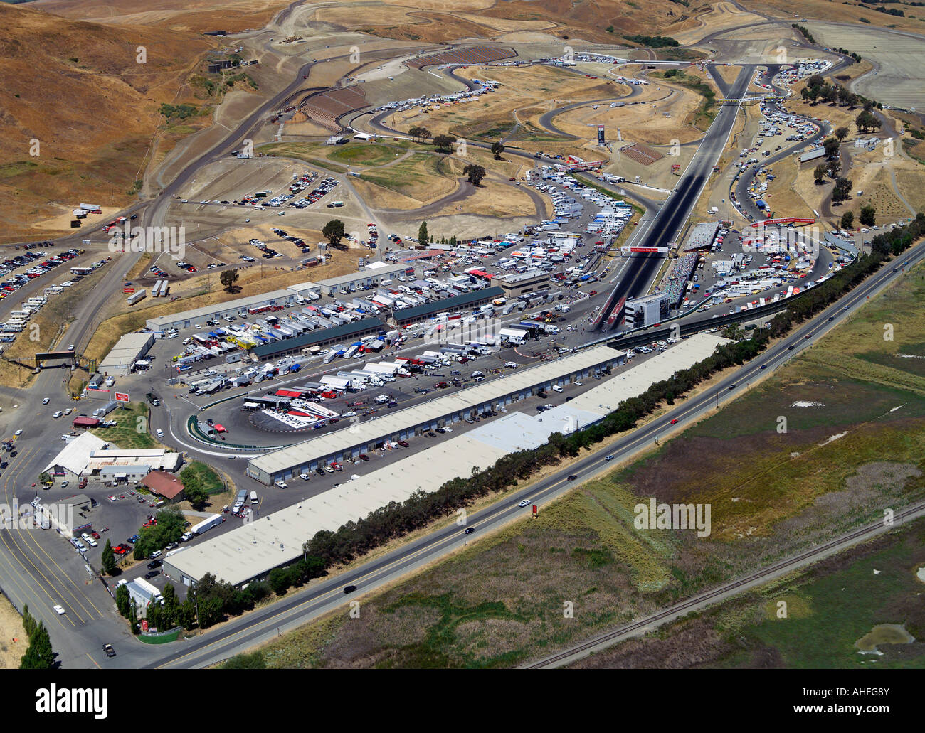Aerial view above nascar race at infineon raceway sears point sonoma county california stock image