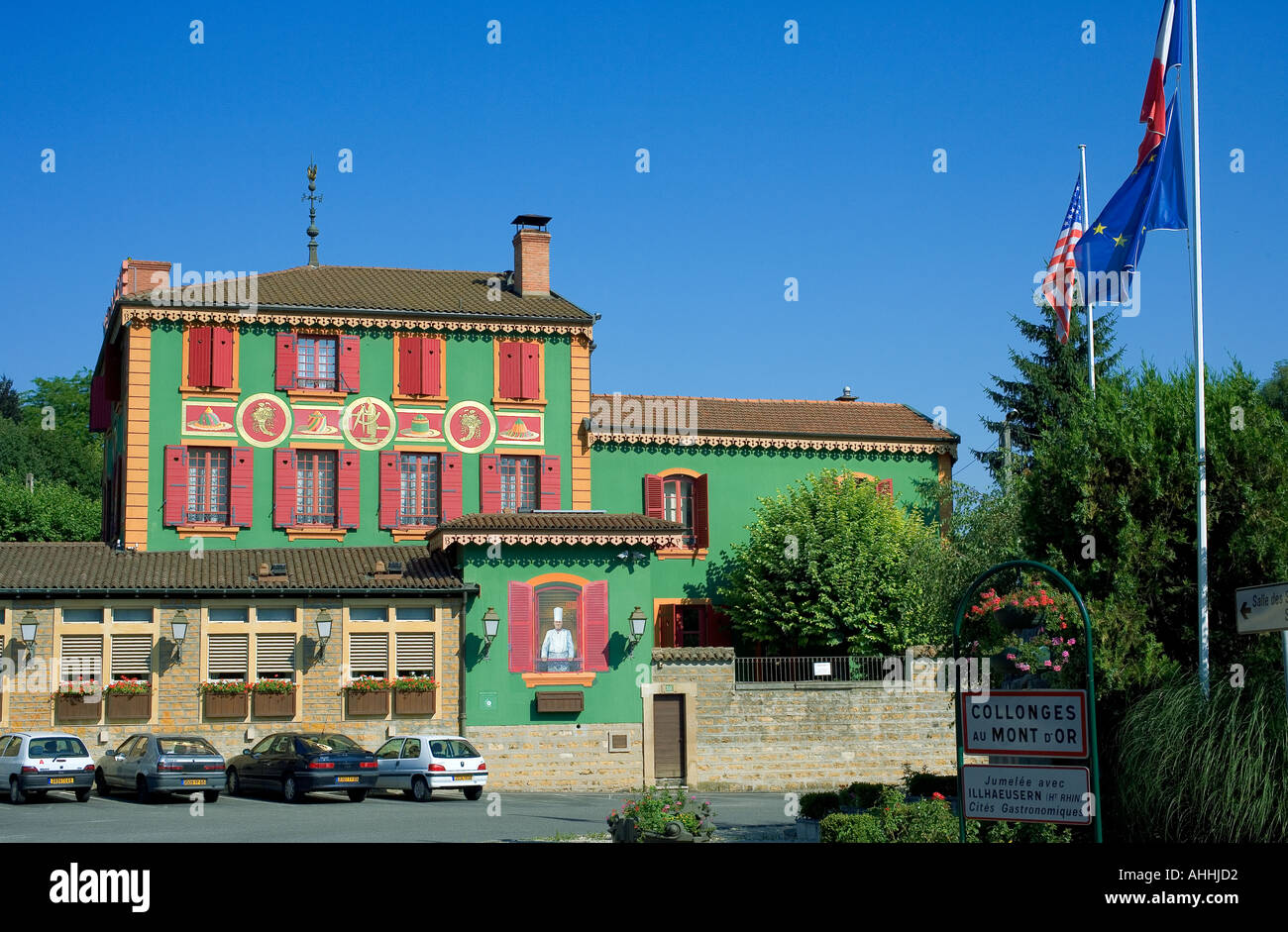 paul bocuse restaurant collonges au mont d 39 or lyon france stock photo royalty free image. Black Bedroom Furniture Sets. Home Design Ideas