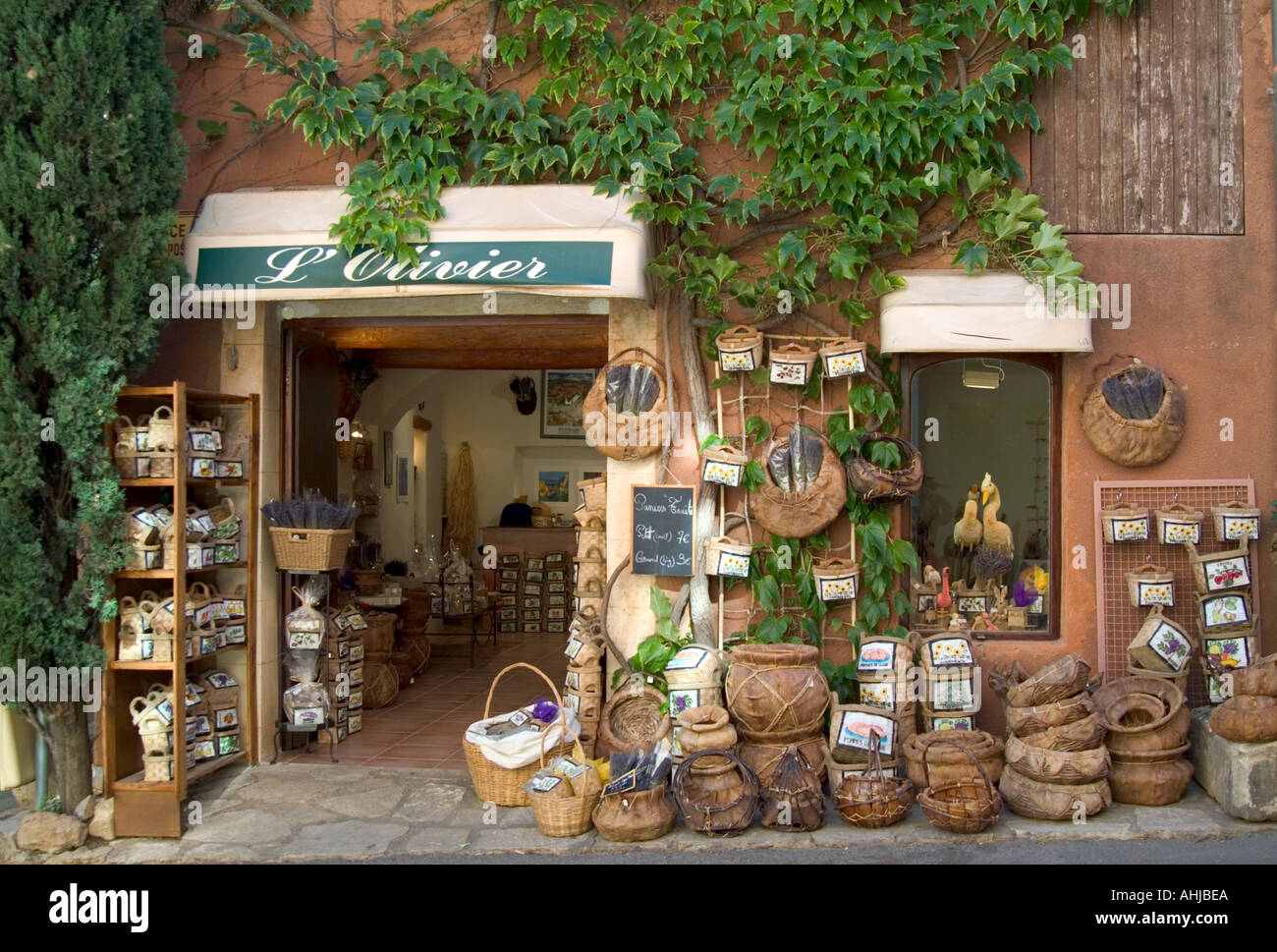 basket and herb shop in Roussillon Provence south west France ...