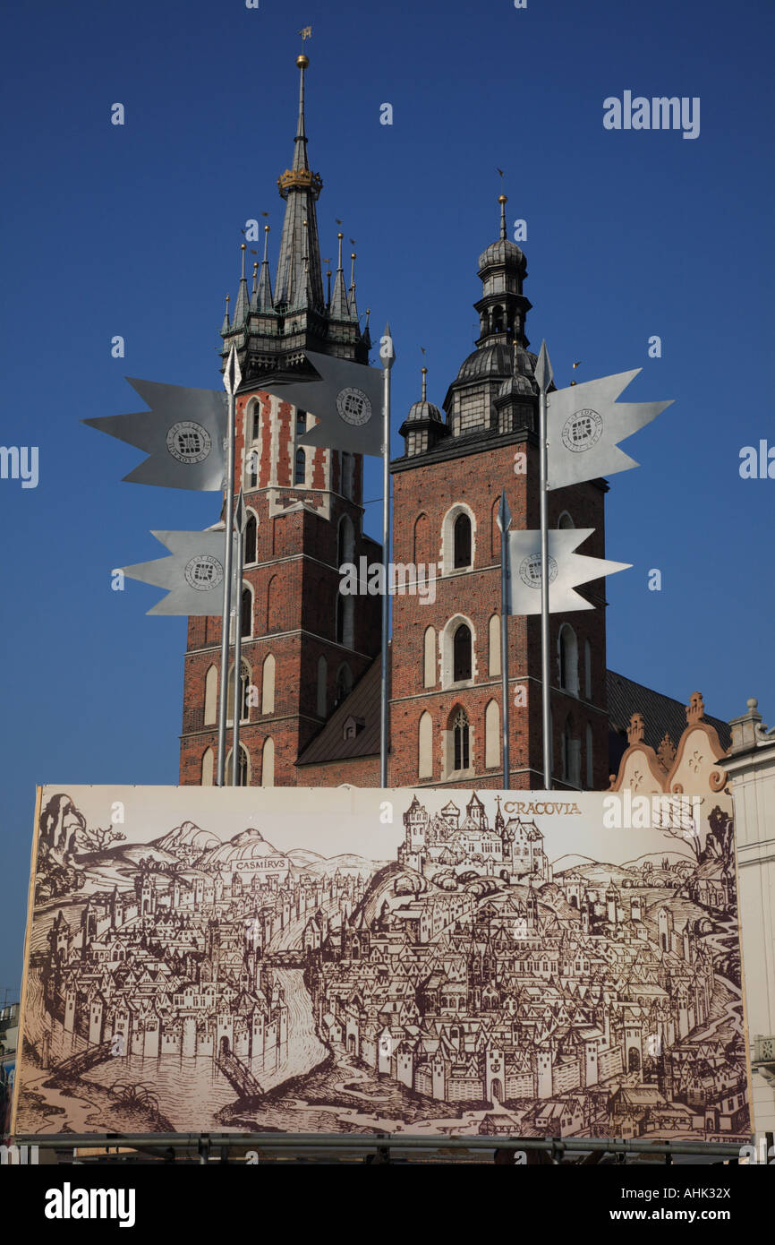 Medieval Map of Crcovia on Market Square in the old quarter or