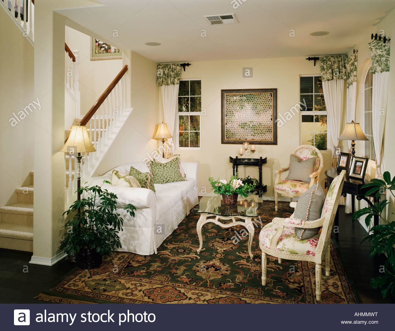 Cozy Sitting Room With An Old Fashioned Style Stock Photo
