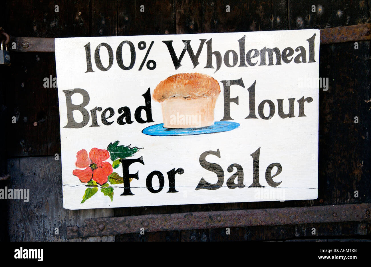 Stock Photo Wholemeal Bread Flour For Sale Sign At The 17th Century Y Felin Flour Mill At St Dogmaels Pembrokeshire West Wales Uk