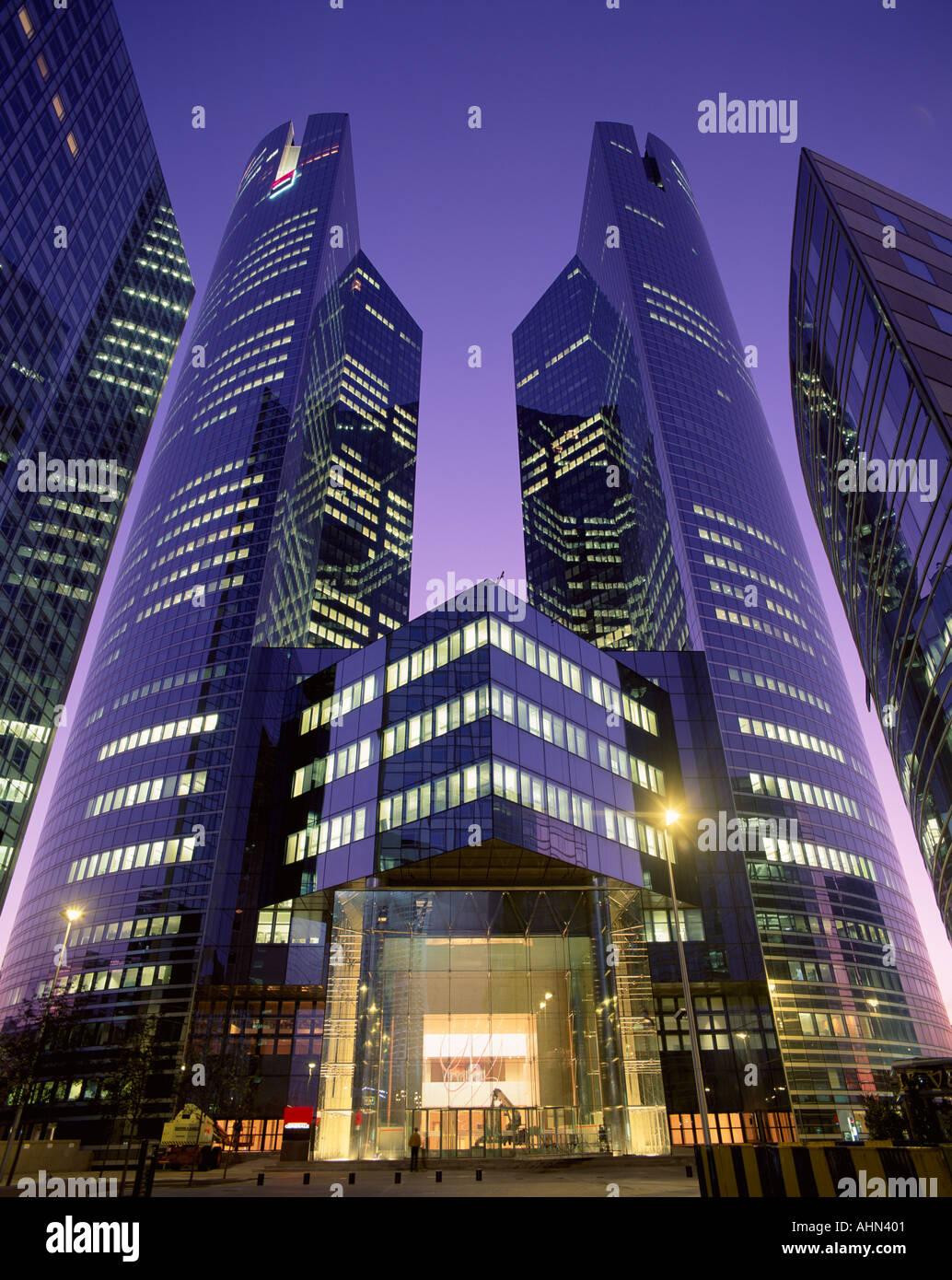 Modern office building at night La Defence Paris France Stock ...