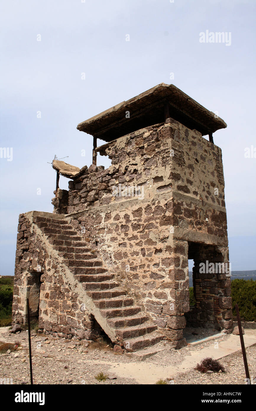 Old World War Two military post on coast of St Antioco ...