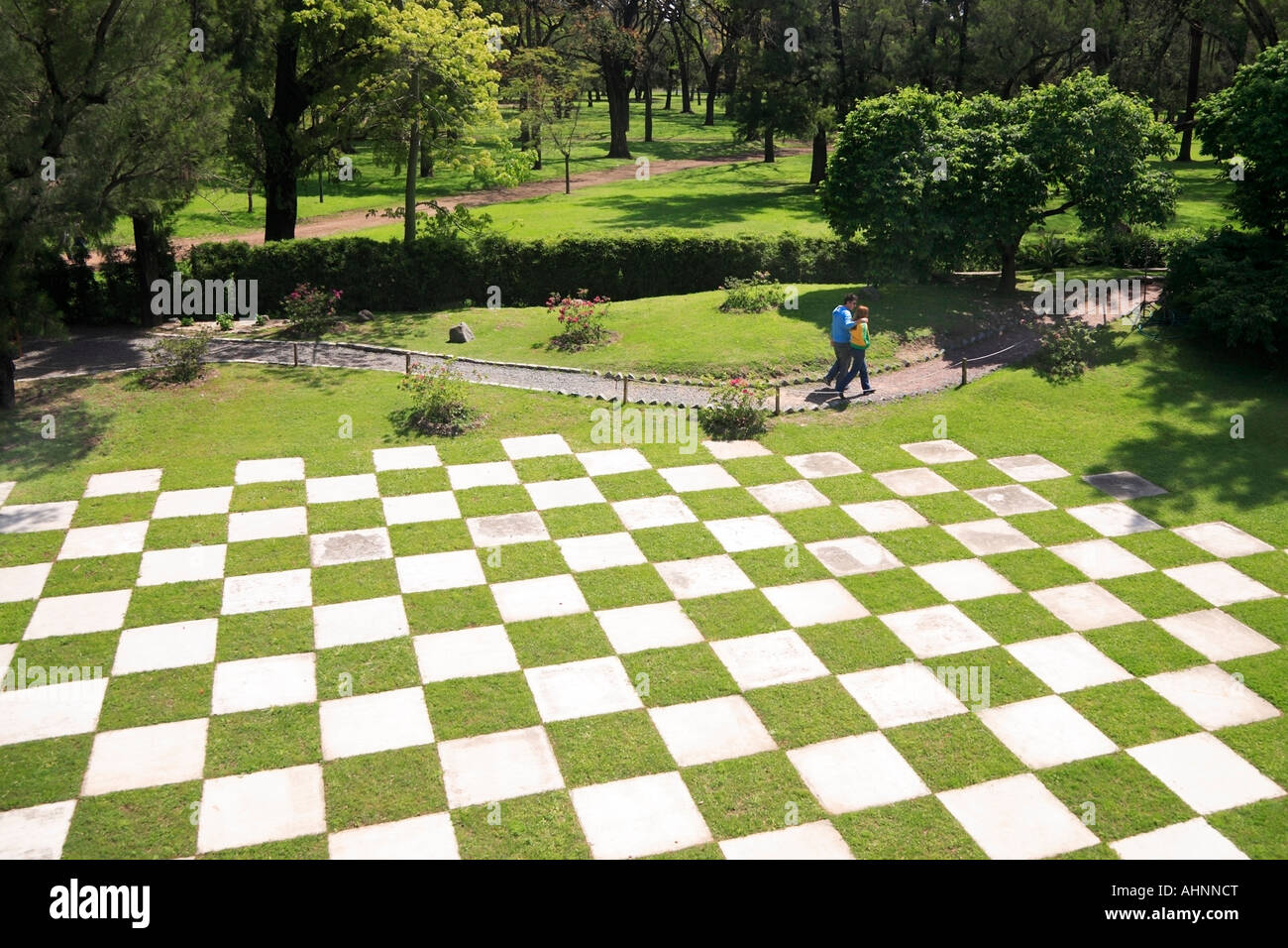Far View Of Japanesse Garden Chess Floor Park, With Trees And Path.  Palermo, Buenos Aires, Argentina