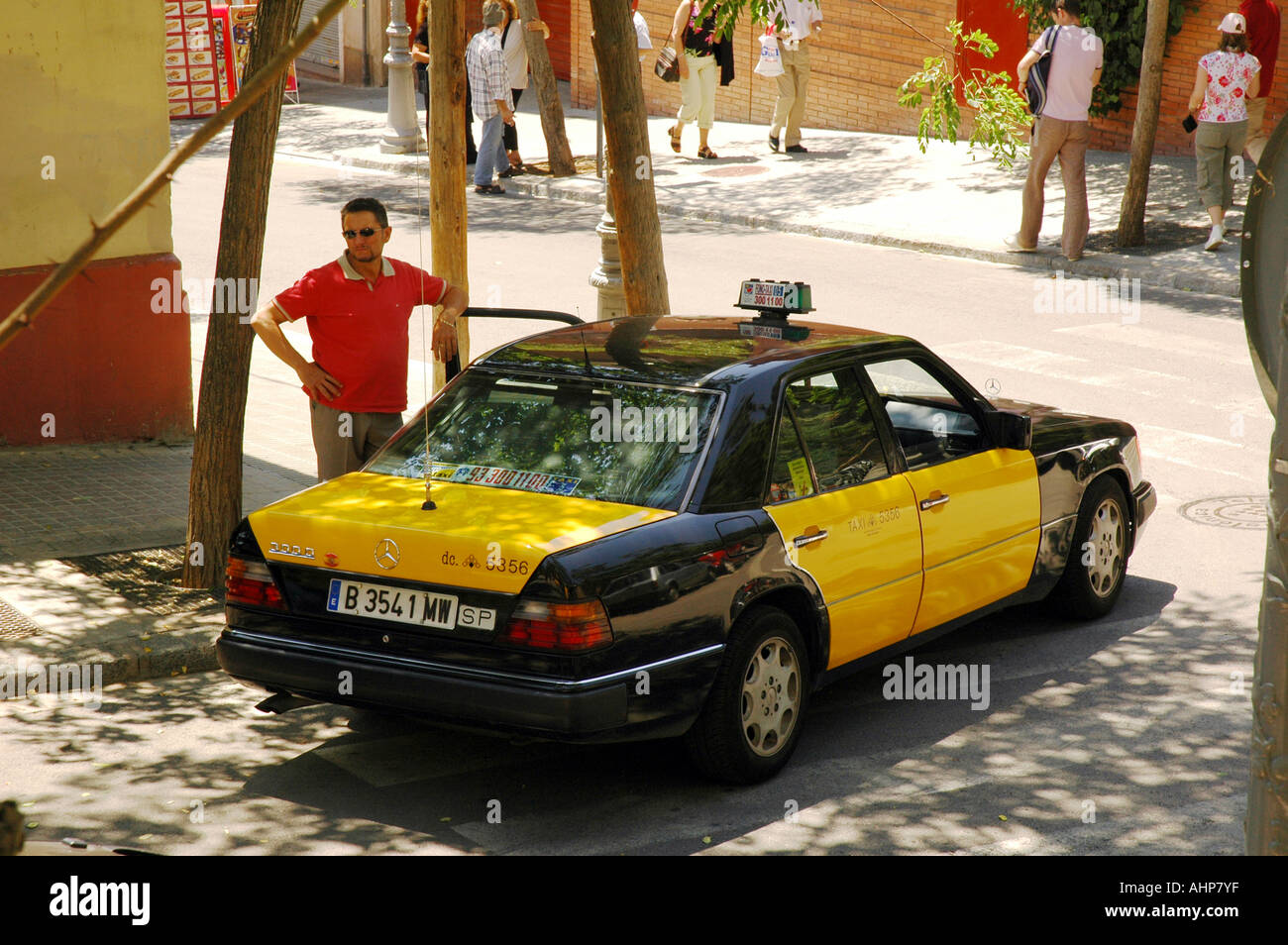 Spanish taxi driver waiting for a customer at barcelona spain stock photo royalty free image - Cab in barcelona ...