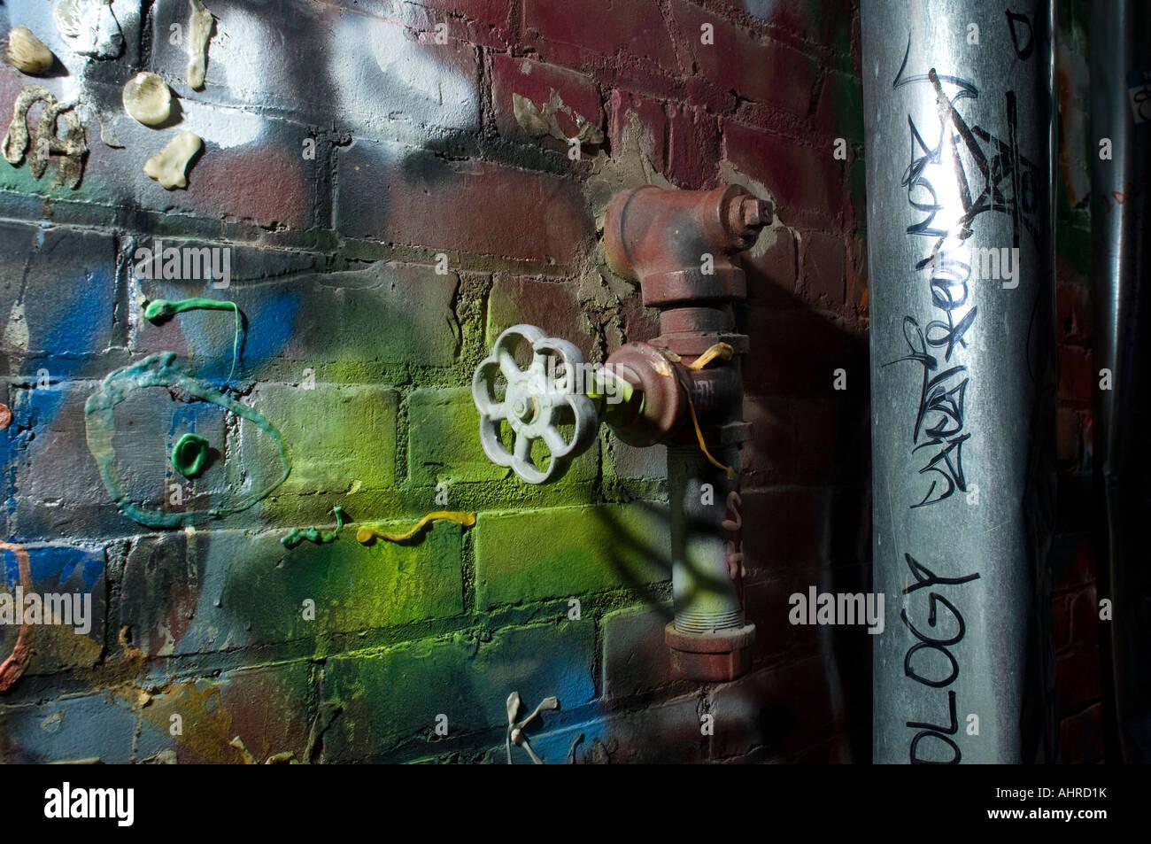 Graffiti wall ann arbor - Graffiti Covered Wall And Valve Ann Arbor Michigan