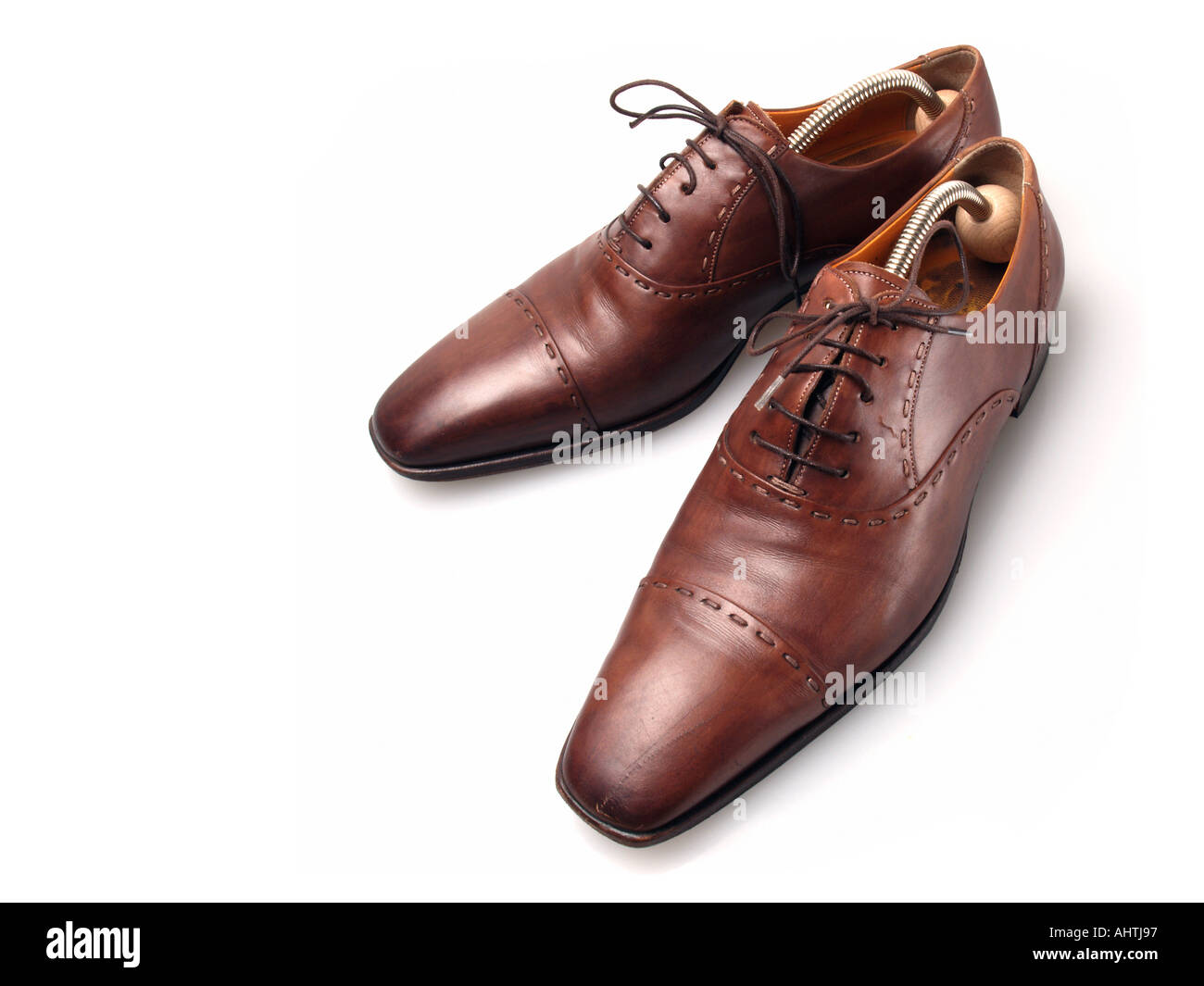 Mens leather gloves tj hughes - Well Used Pair Of Old Very High Quality Santoni Mens Shoes Stock Image